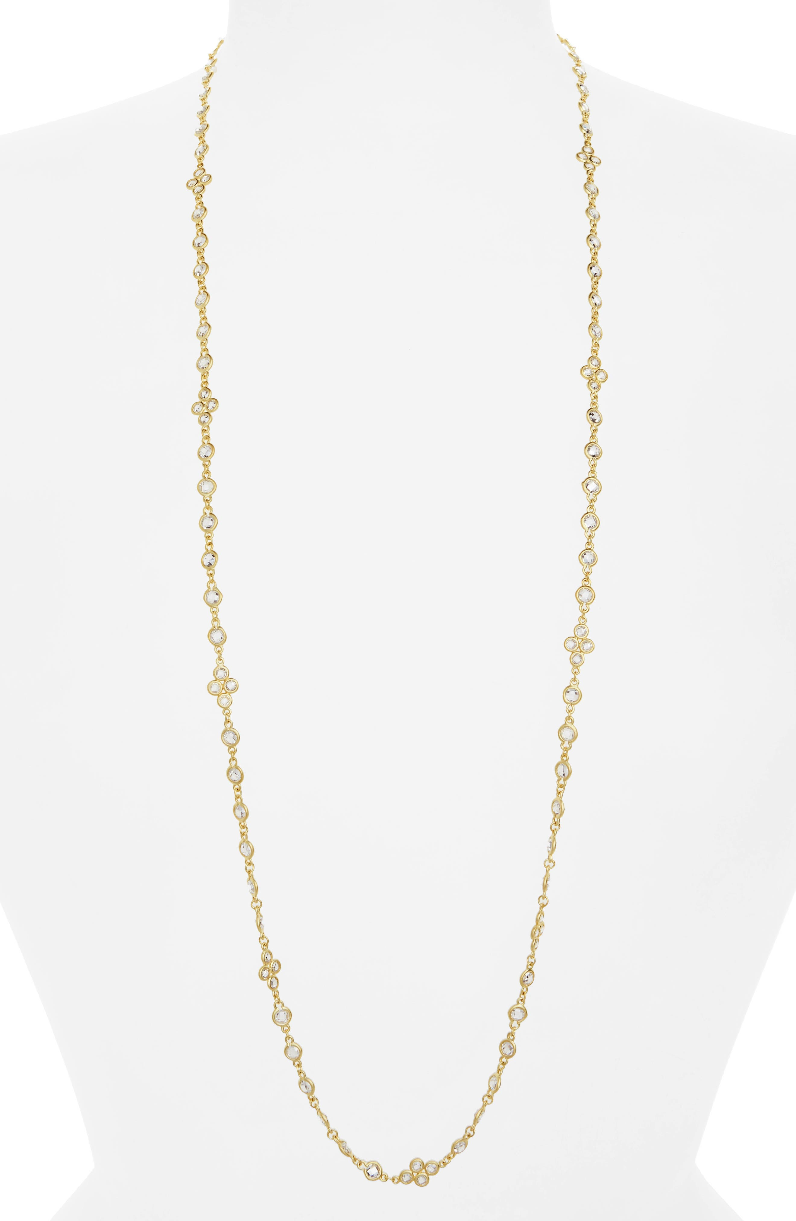 Cubic Zirconia Necklace,                         Main,                         color, Gold/ Clear