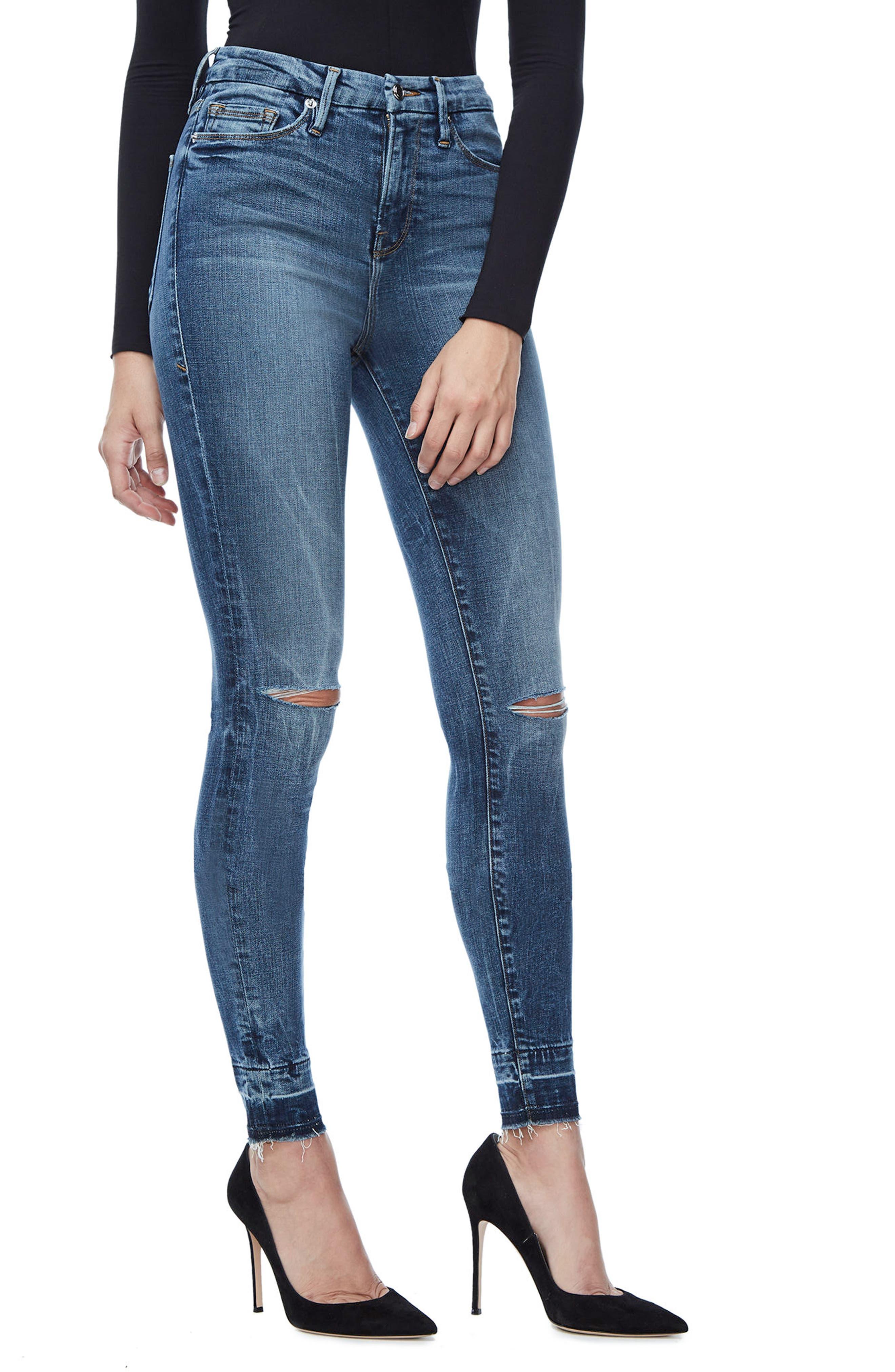 Good Legs High Waist Skinny Jeans,                             Alternate thumbnail 3, color,                             Blue 097