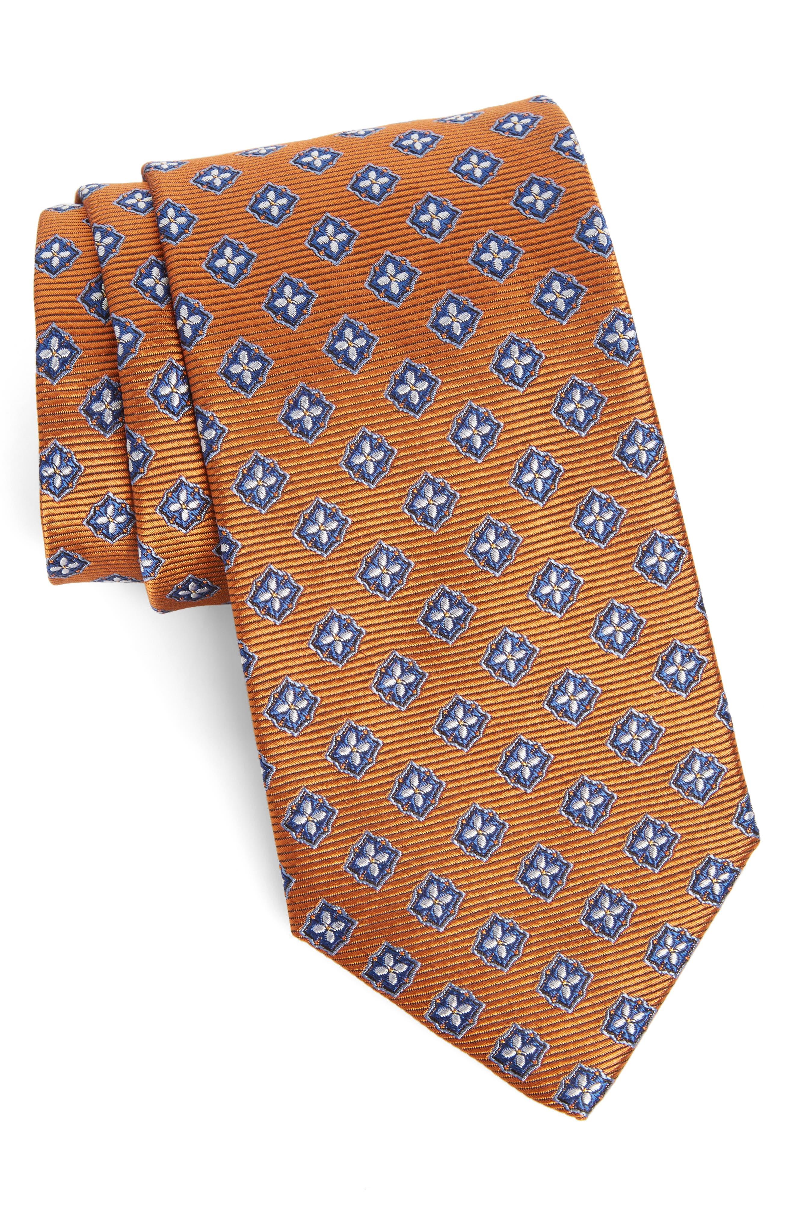 Medallion Silk Tie,                             Main thumbnail 1, color,                             Orange