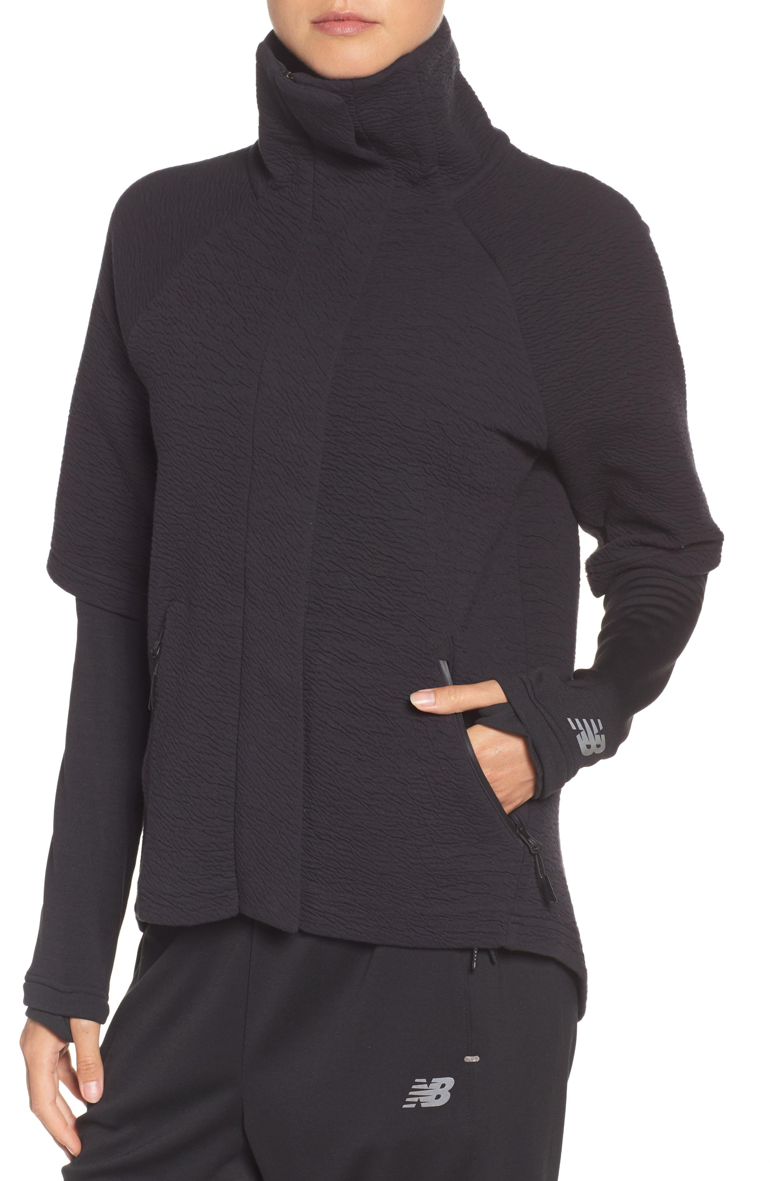 Heat Knit Drape Jacket,                             Alternate thumbnail 4, color,                             Bk