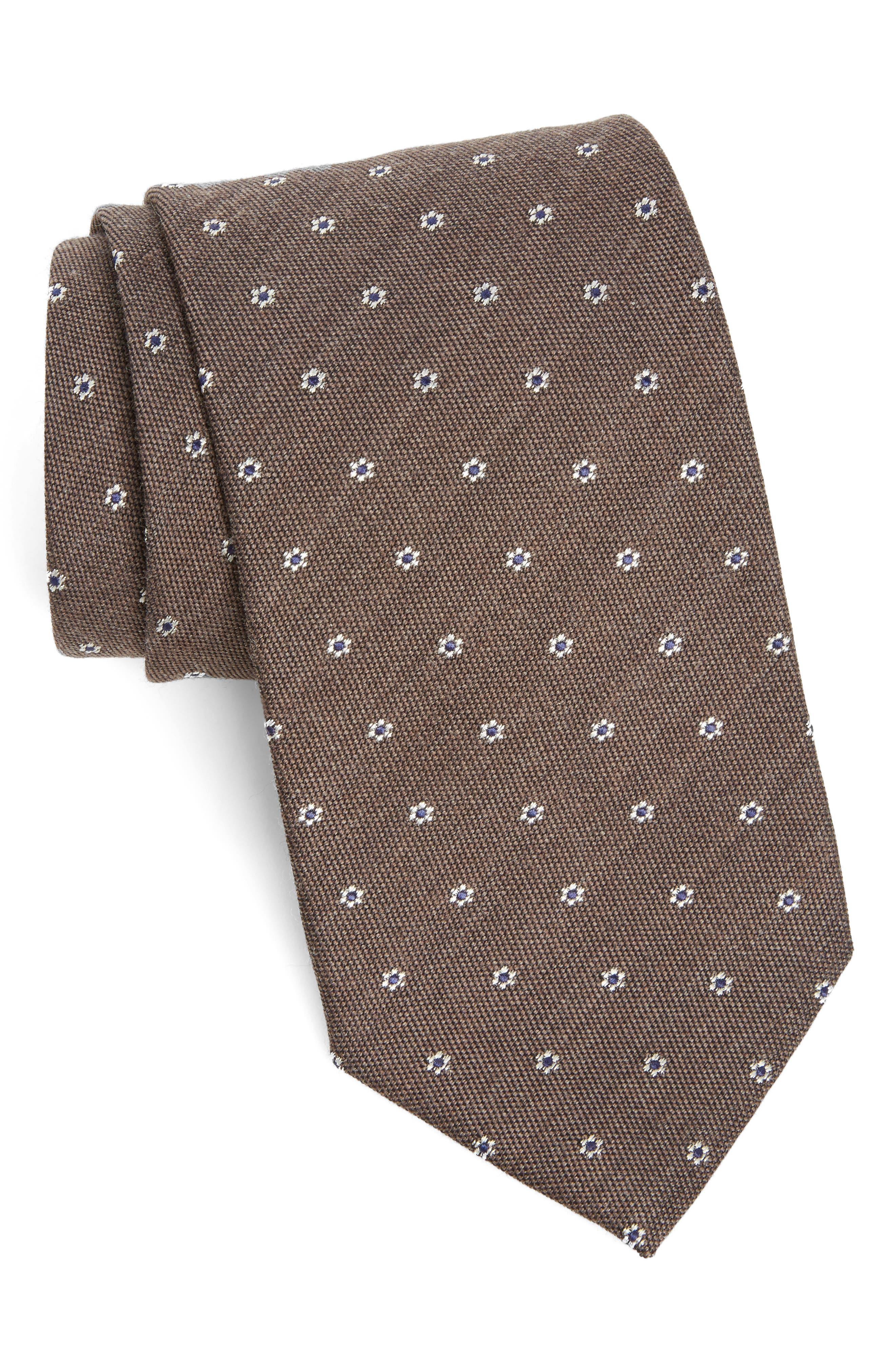 Heather Floral Silk & Wool Tie,                         Main,                         color, Brown