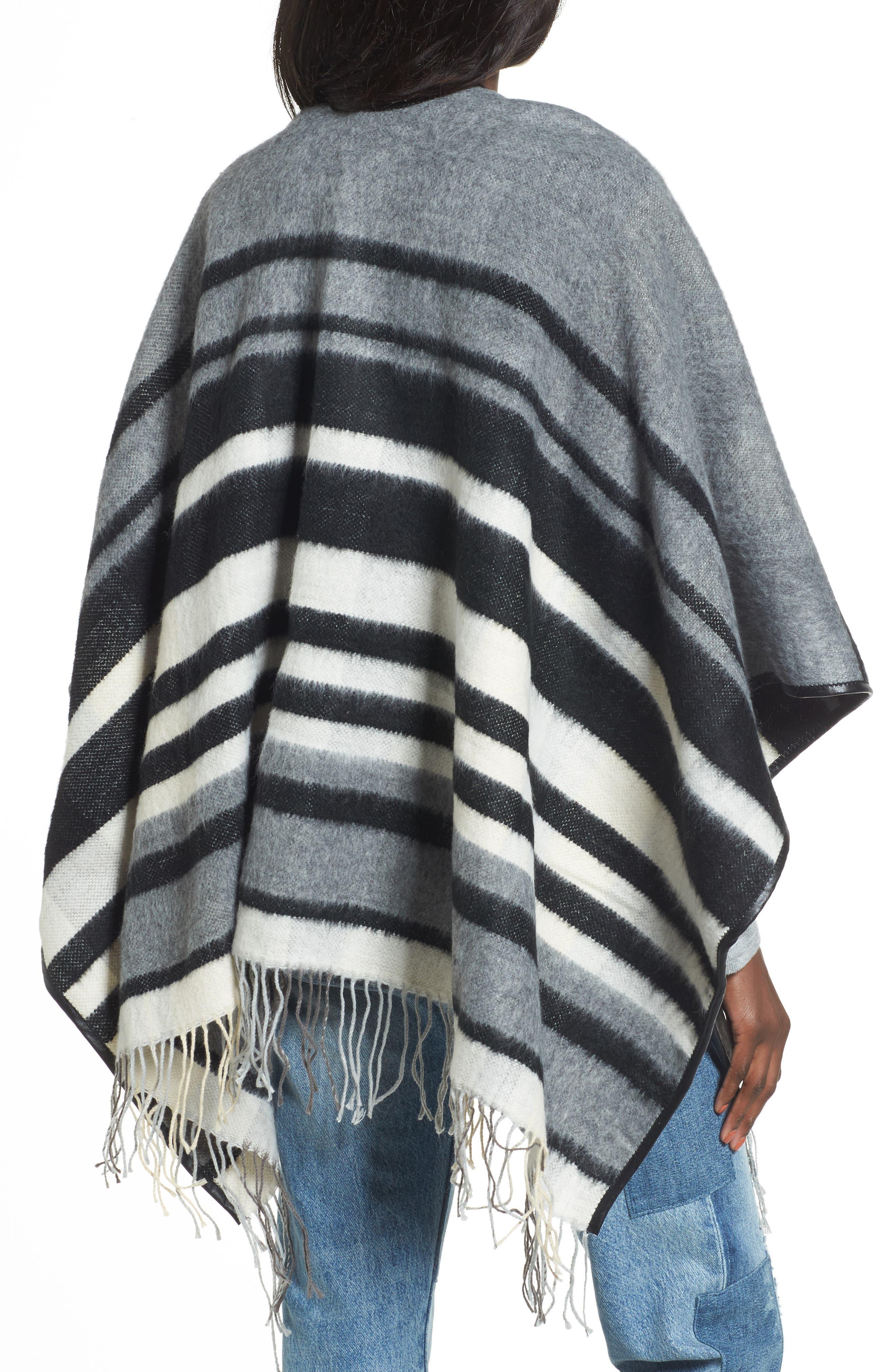 Accessory Collective Stripe Ruana,                             Alternate thumbnail 2, color,                             Black/ Grey