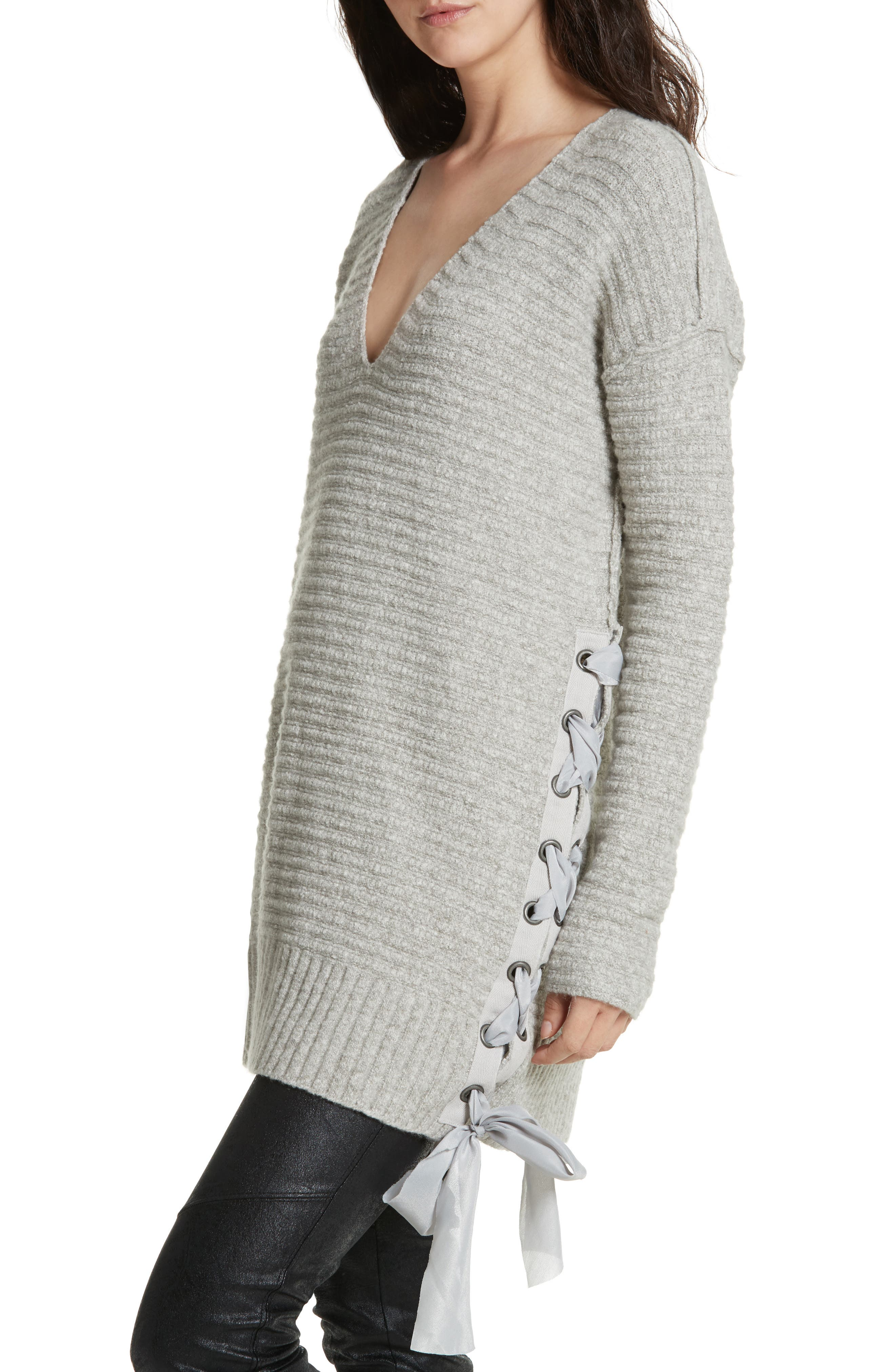 Heart It Laces Sweater,                             Alternate thumbnail 4, color,                             Grey
