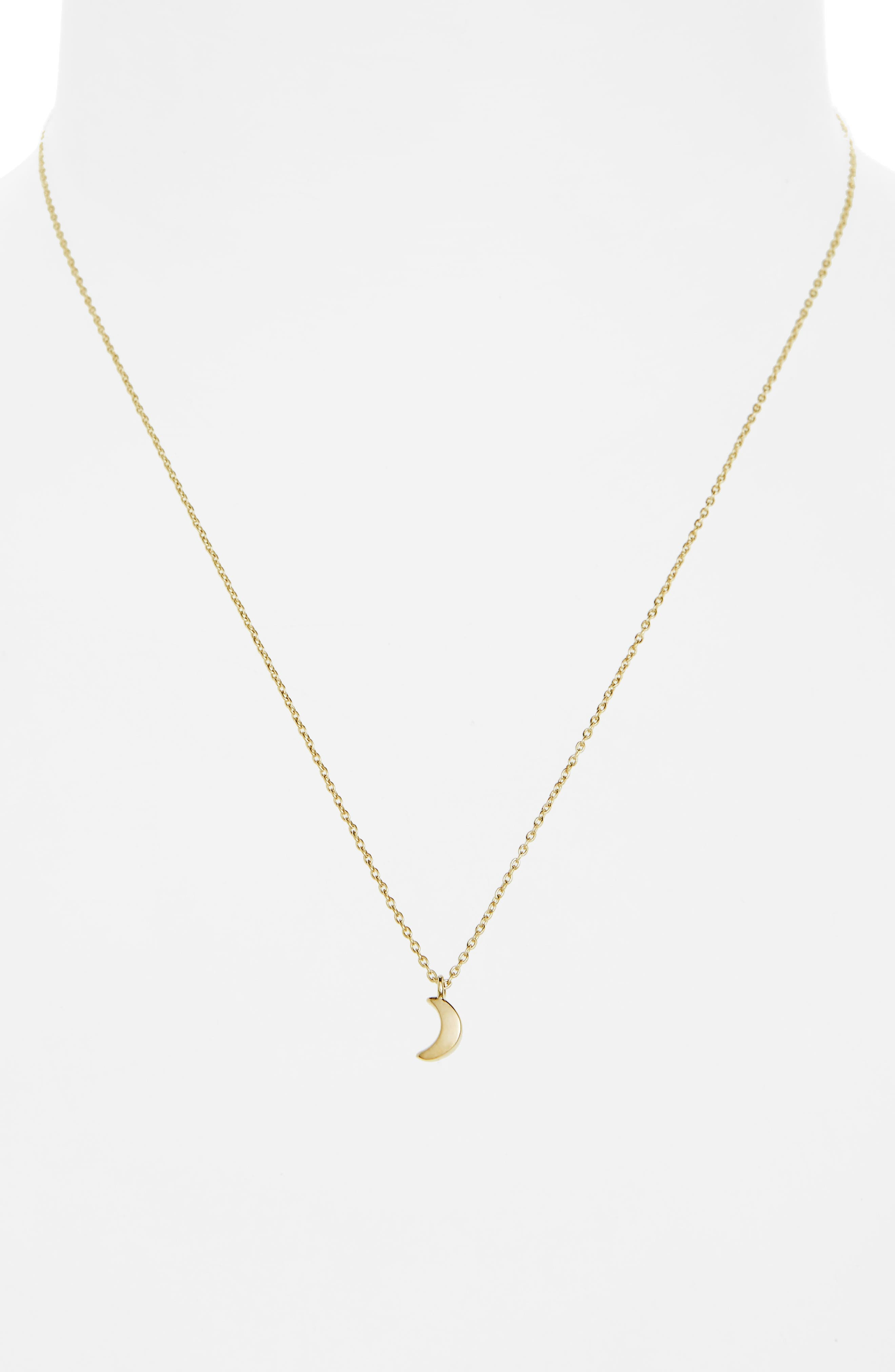 Crescent Moon Charm Necklace,                             Alternate thumbnail 2, color,                             14K Gold