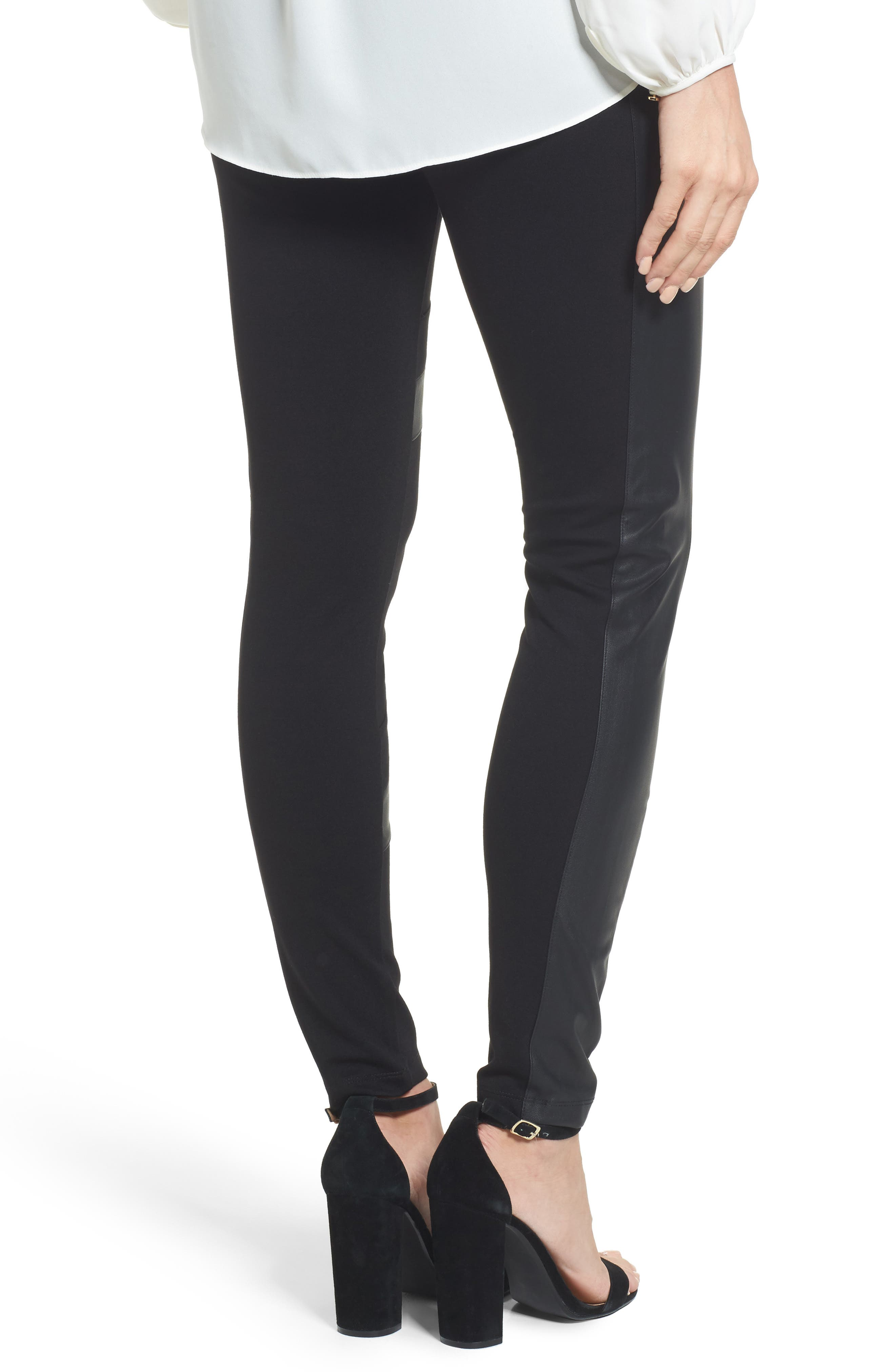 Alternate Image 2  - Two by Vince Camuto Faux Leather Chevron Panel Ponte Leggings