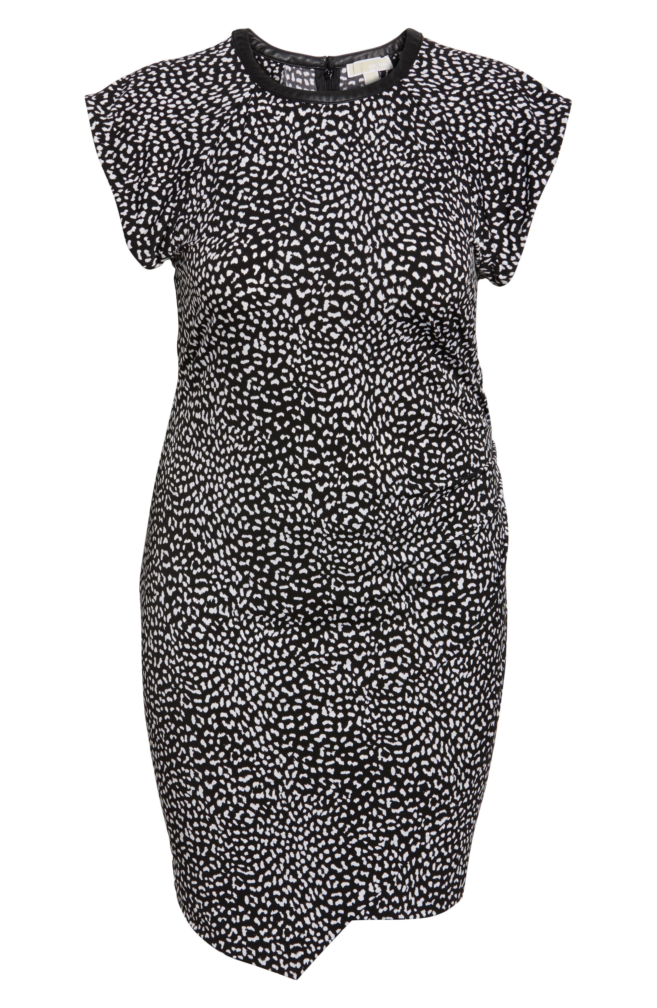 Cheetah Print Flutter Sleeve Dress,                             Alternate thumbnail 6, color,                             Black