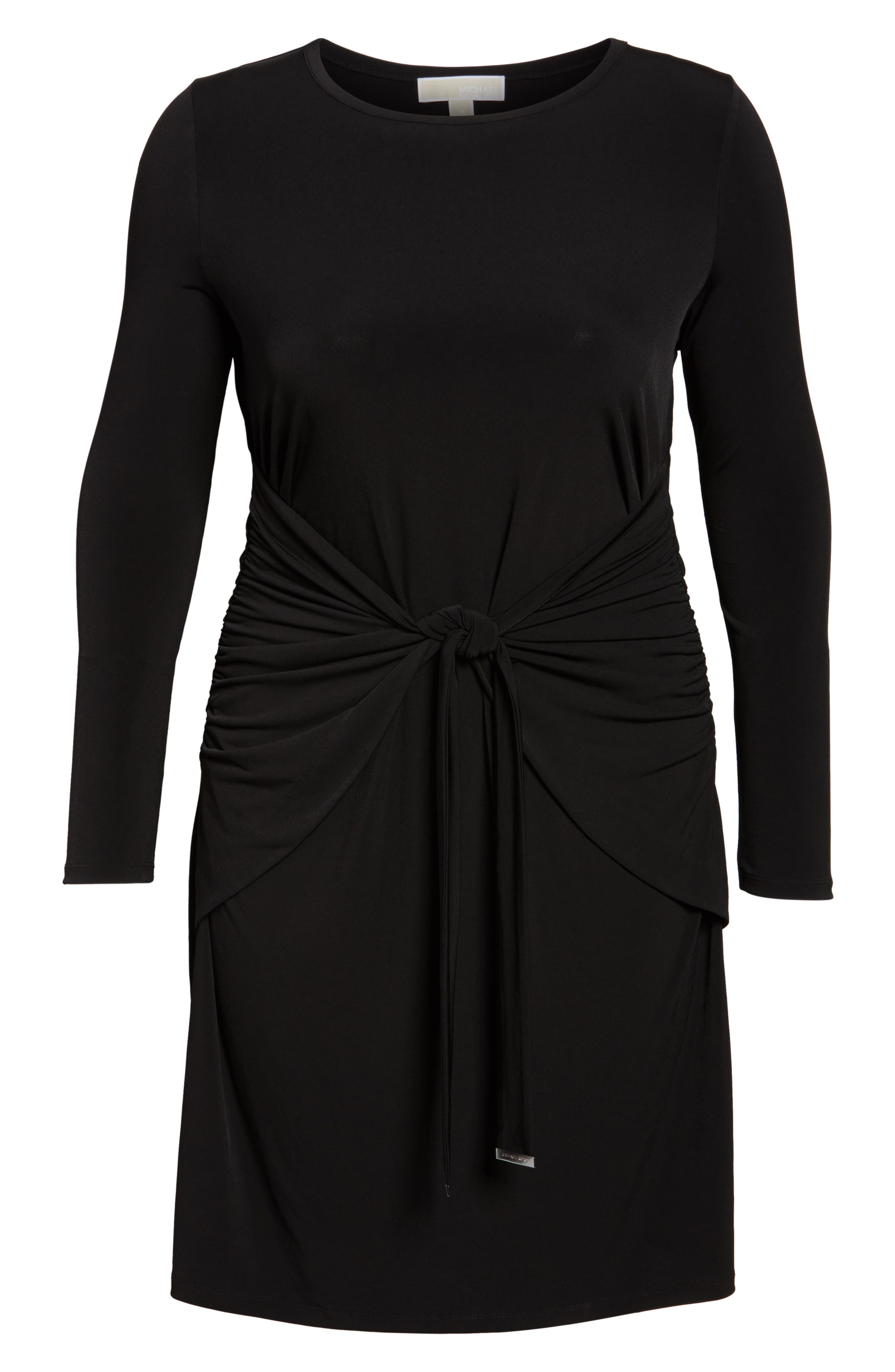 Twist Waist Dress,                             Alternate thumbnail 6, color,                             Black
