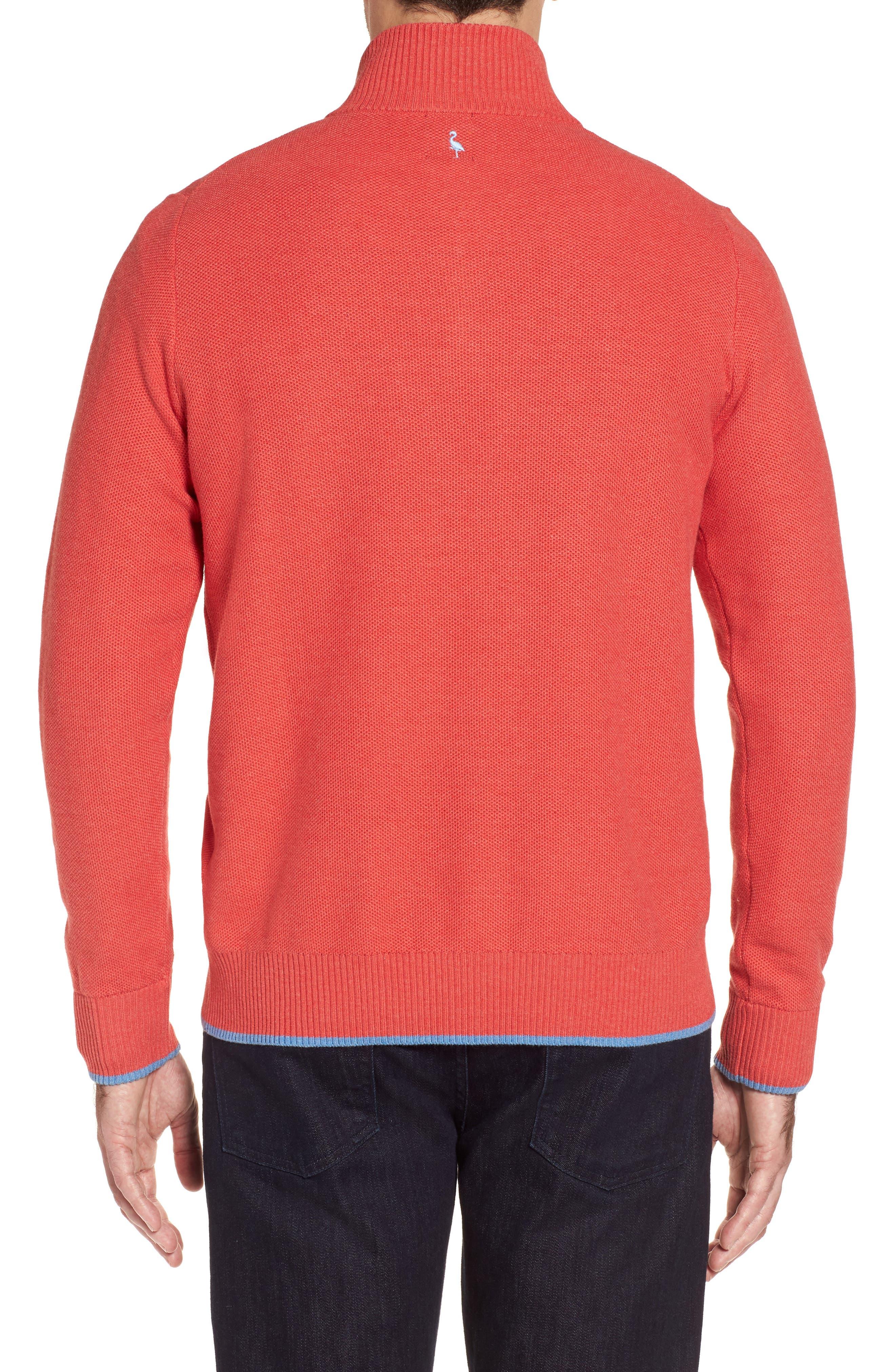 Sorrel Tipped Quarter Zip Sweater,                             Alternate thumbnail 2, color,                             Coral