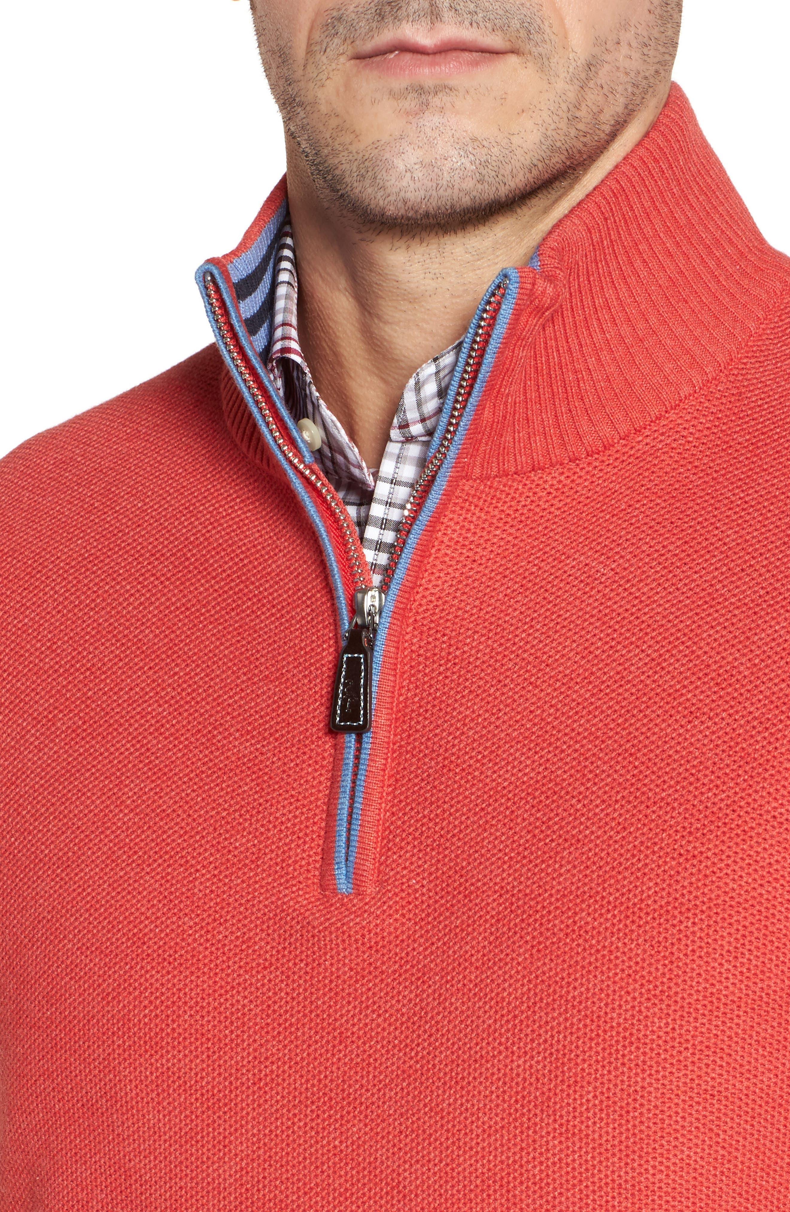 Sorrel Tipped Quarter Zip Sweater,                             Alternate thumbnail 4, color,                             Coral