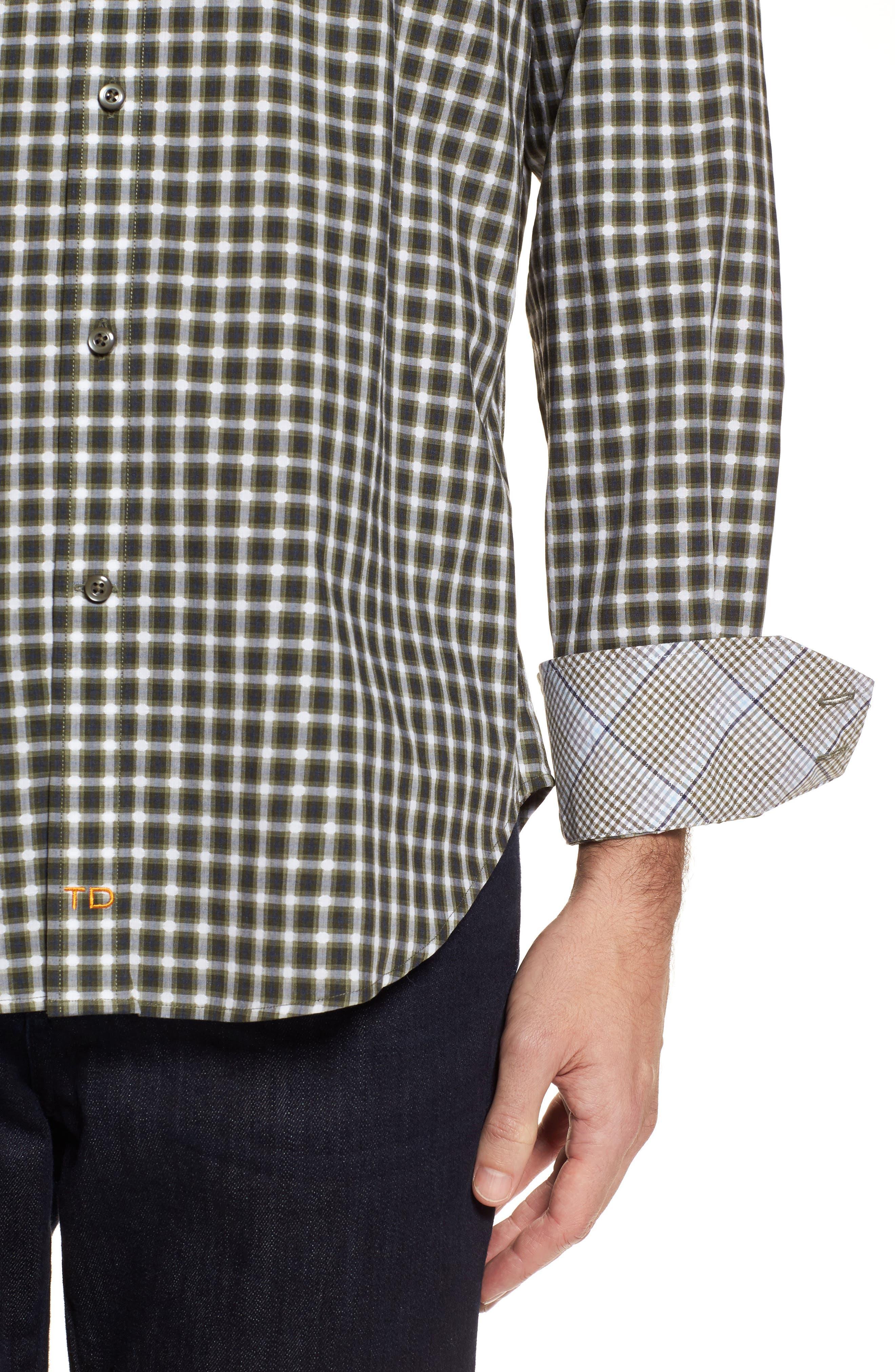 Regular Fit Gradient Check Sport Shirt,                             Alternate thumbnail 4, color,                             Green