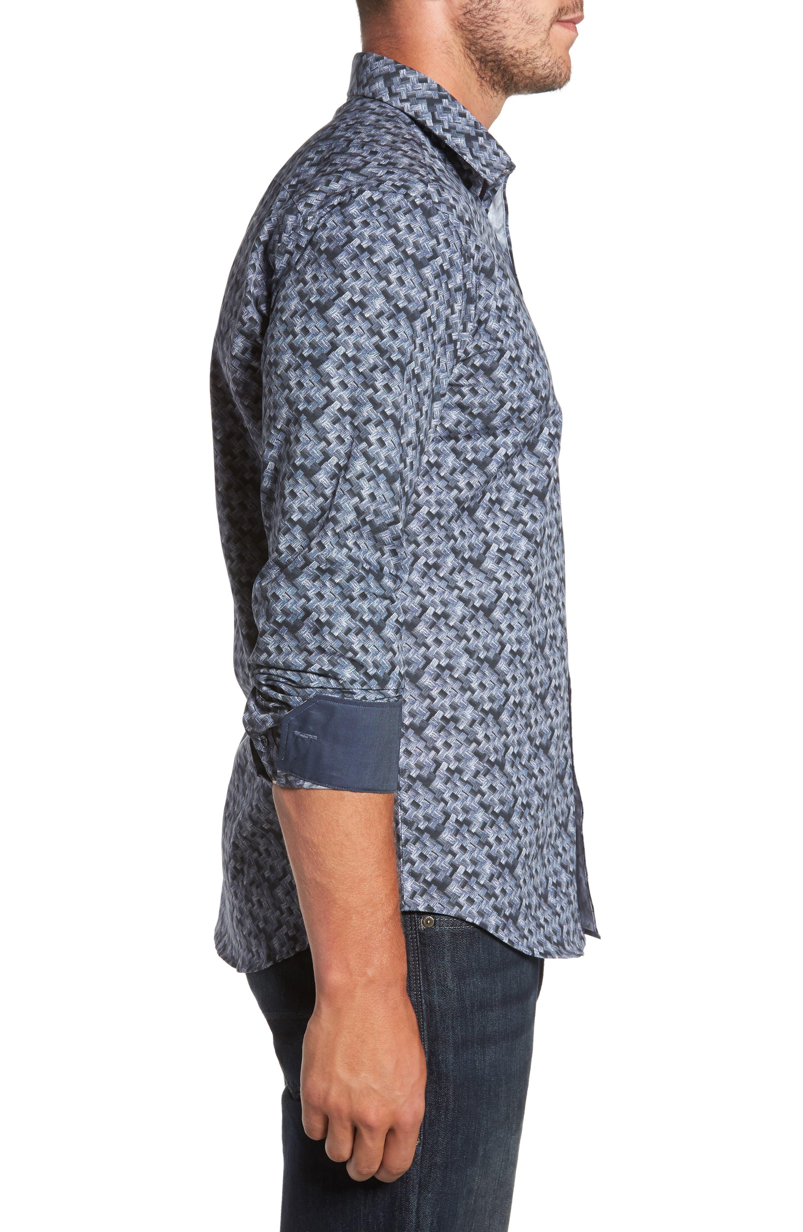 Shaped Fit Print Sport Shirt,                             Alternate thumbnail 3, color,                             Steel