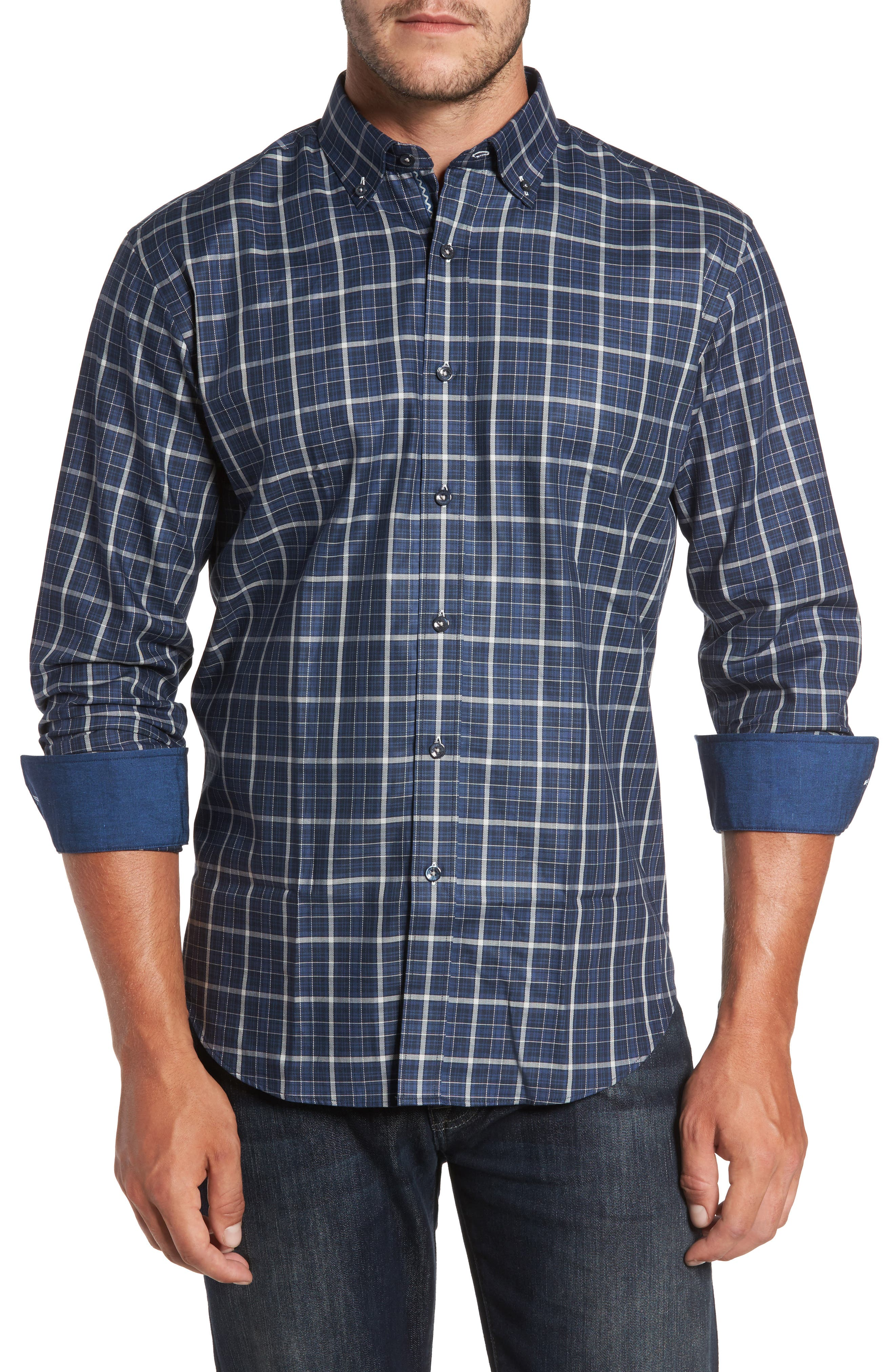 Alternate Image 1 Selected - Bugatchi Trim Fit Windowpane Sport Shirt