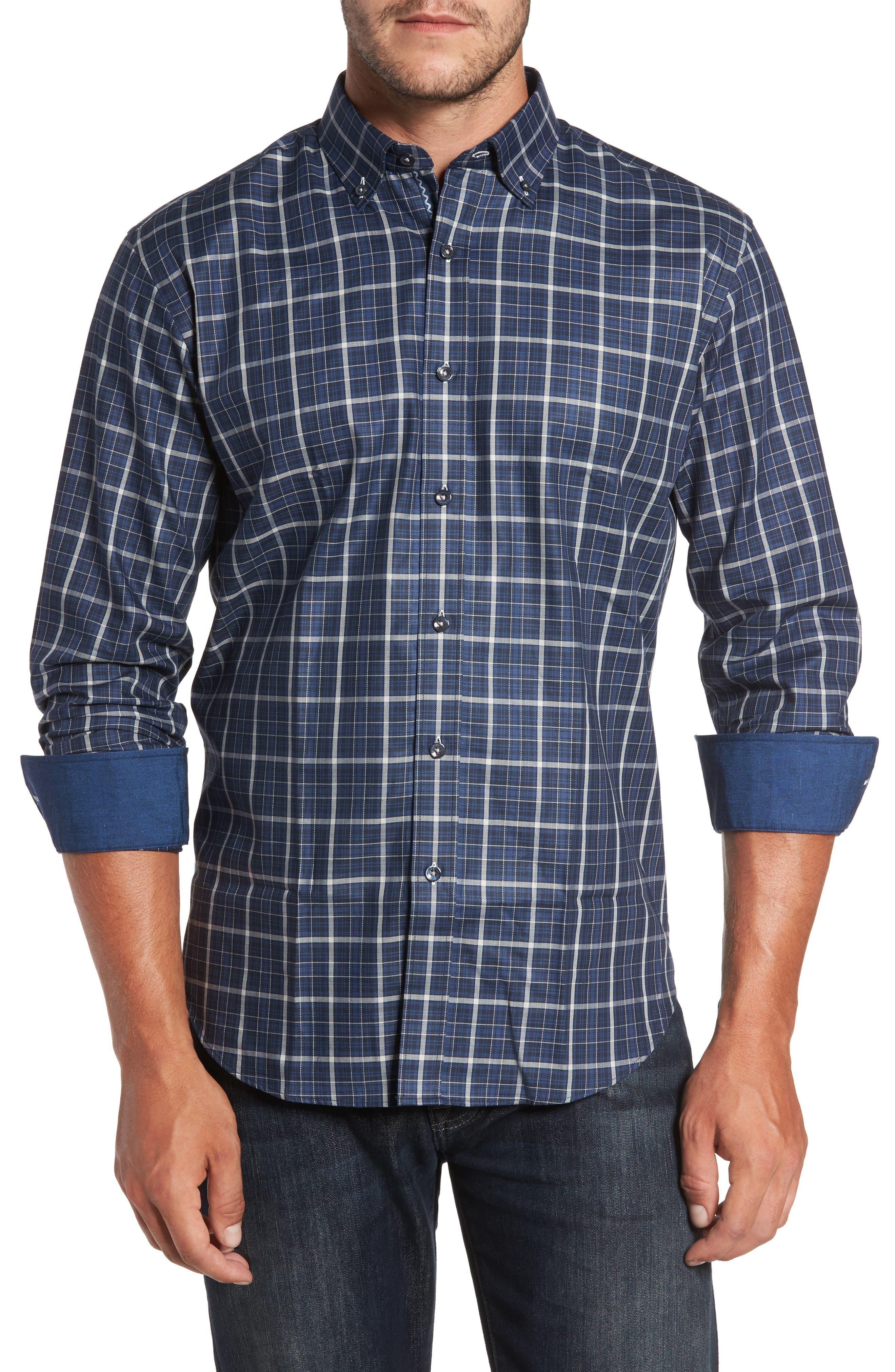 Trim Fit Windowpane Sport Shirt,                         Main,                         color, Navy