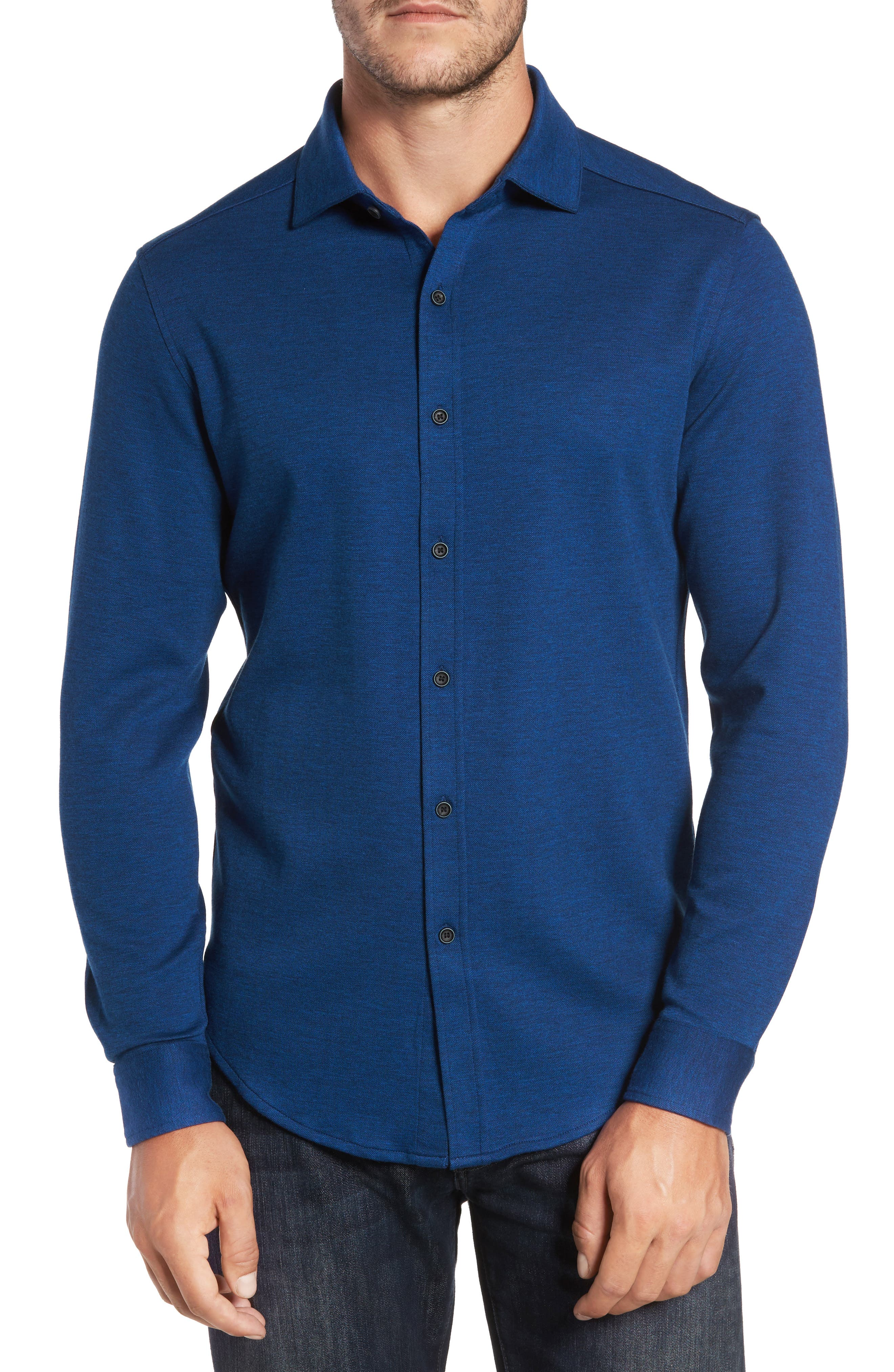 Classic Fit Heathered Knit Sport Shirt,                         Main,                         color, Night Blue