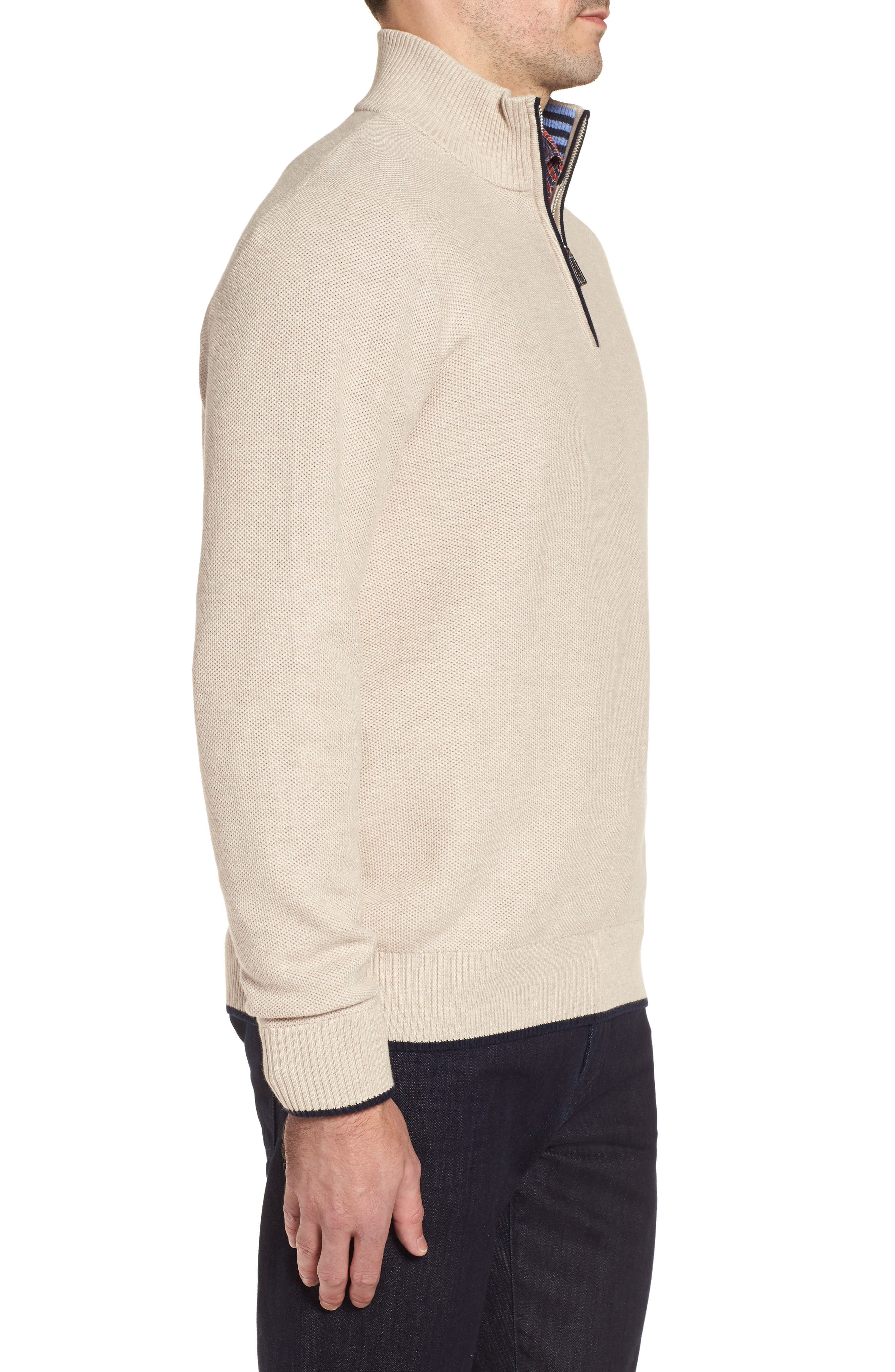 Sikes Tipped Quarter Zip Sweater,                             Alternate thumbnail 3, color,                             Oatmeal