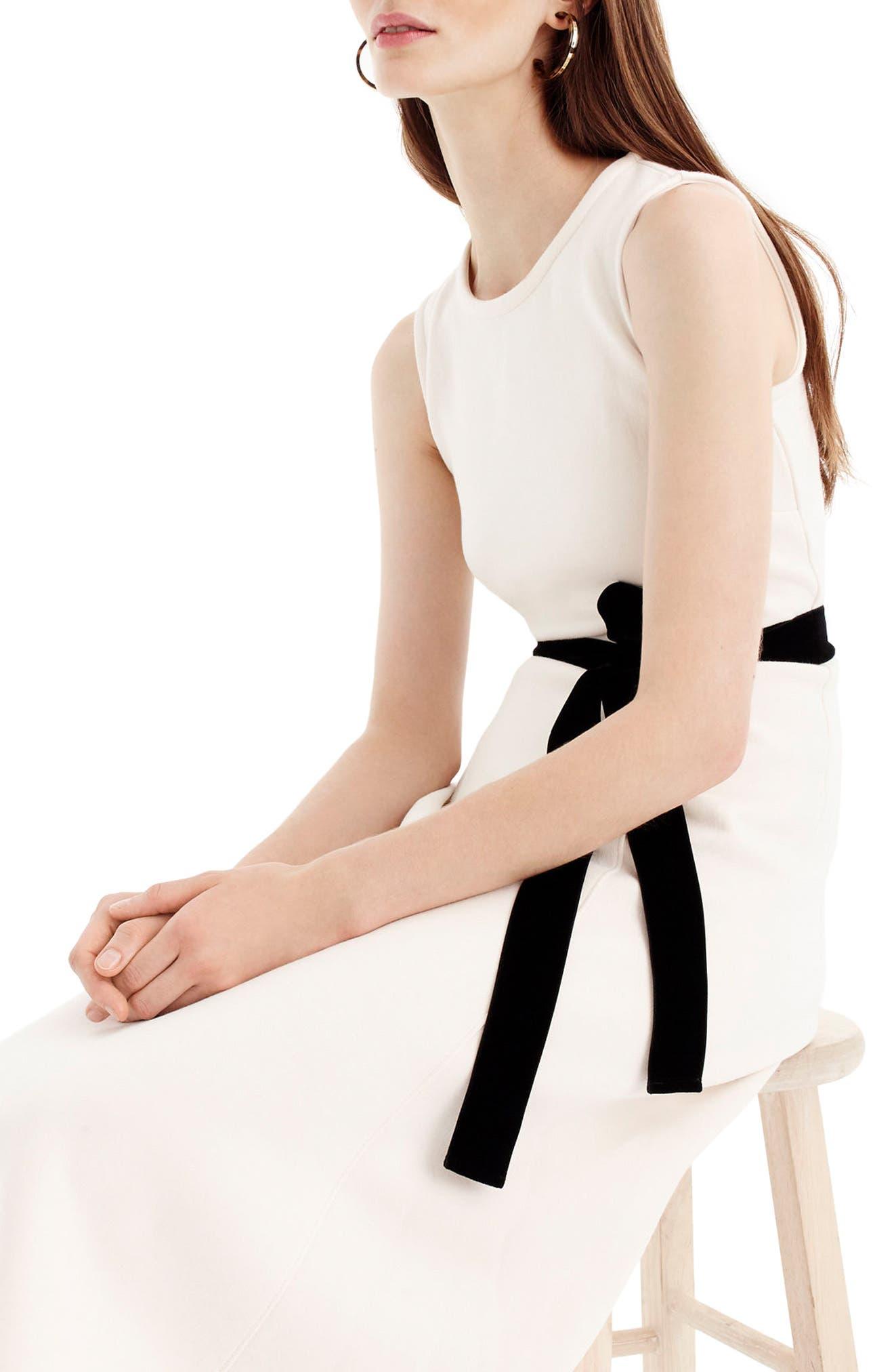 Velvet Tie A-Line Dress,                         Main,                         color, Fresh Cream