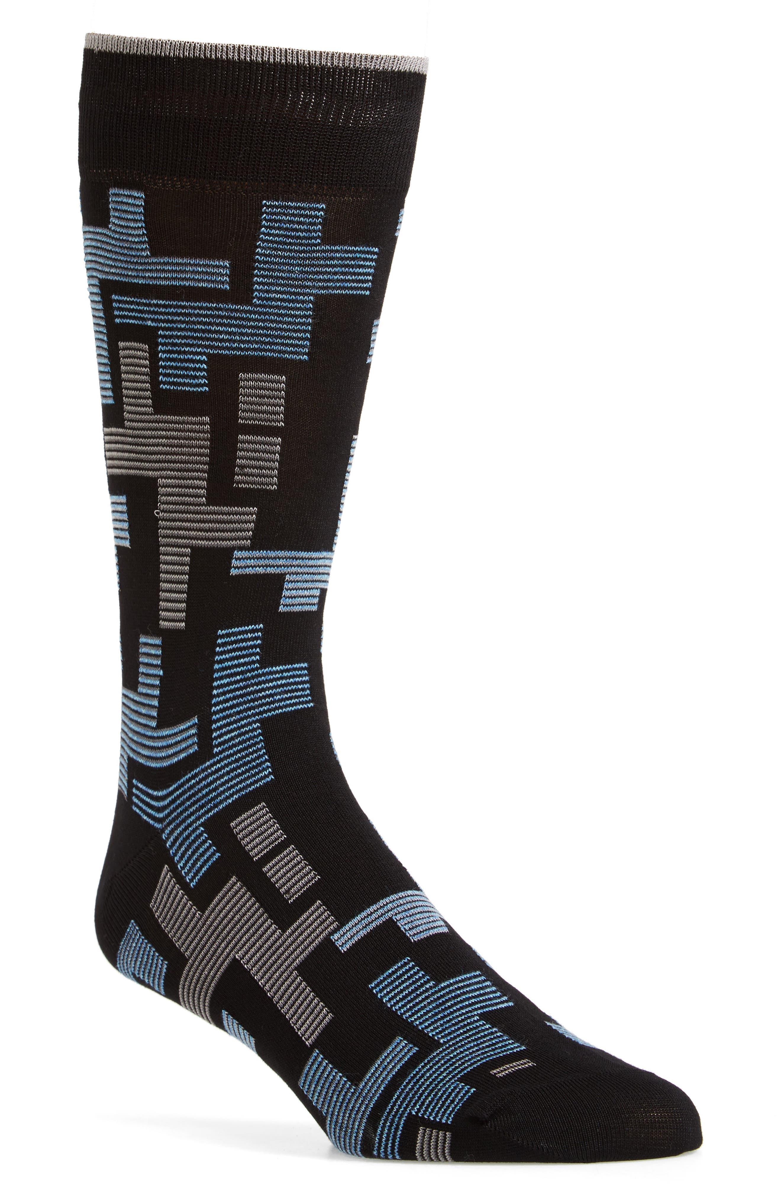 Alternate Image 1 Selected - Bugatchi Geometric Mercerized Socks