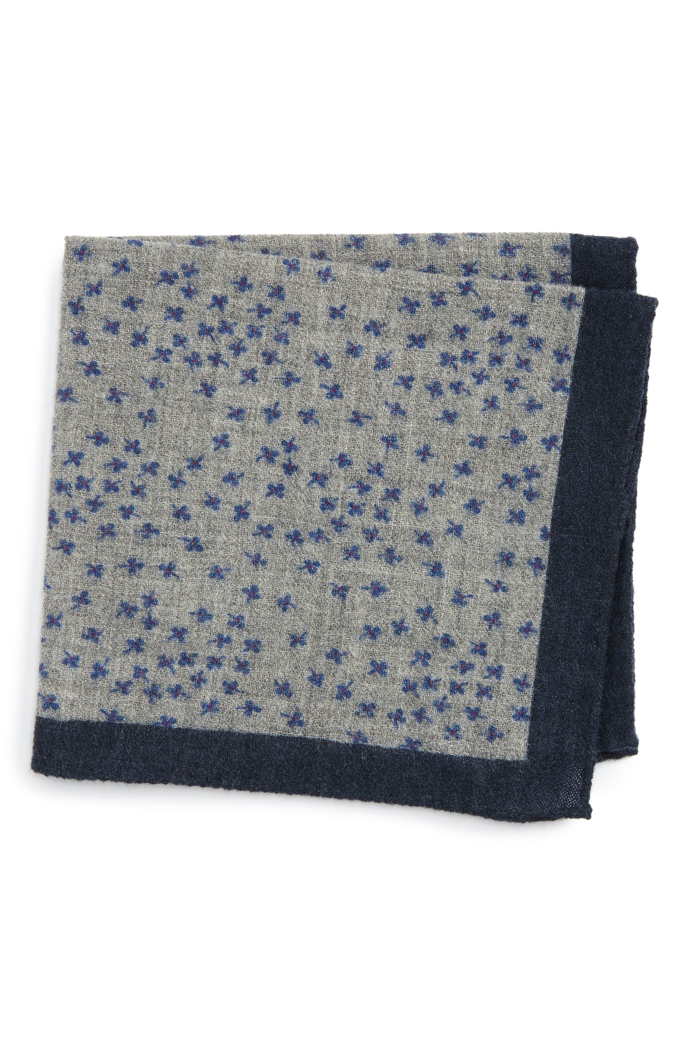Patterned Wool Pocket Square,                         Main,                         color, Floral Grey