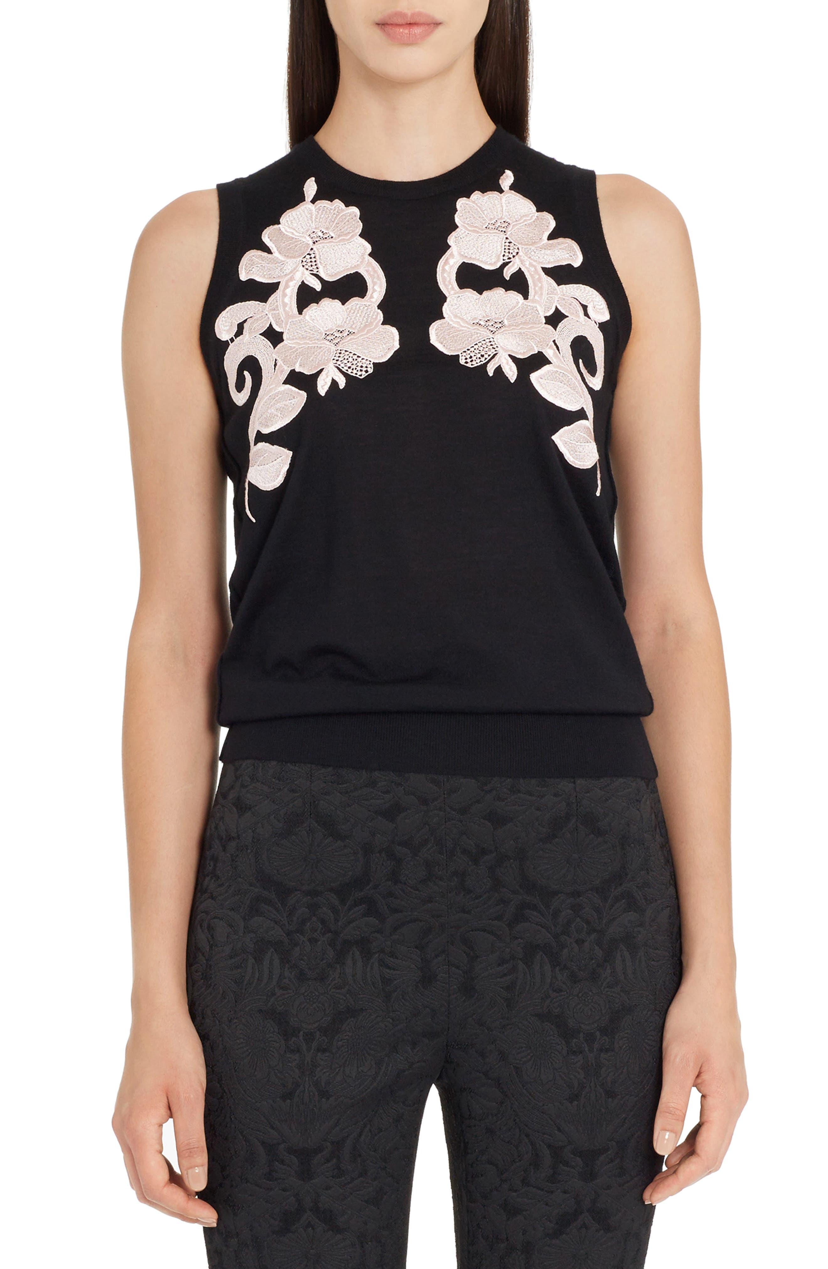 Lace Detail Cashmere Shell,                         Main,                         color, Black/ White