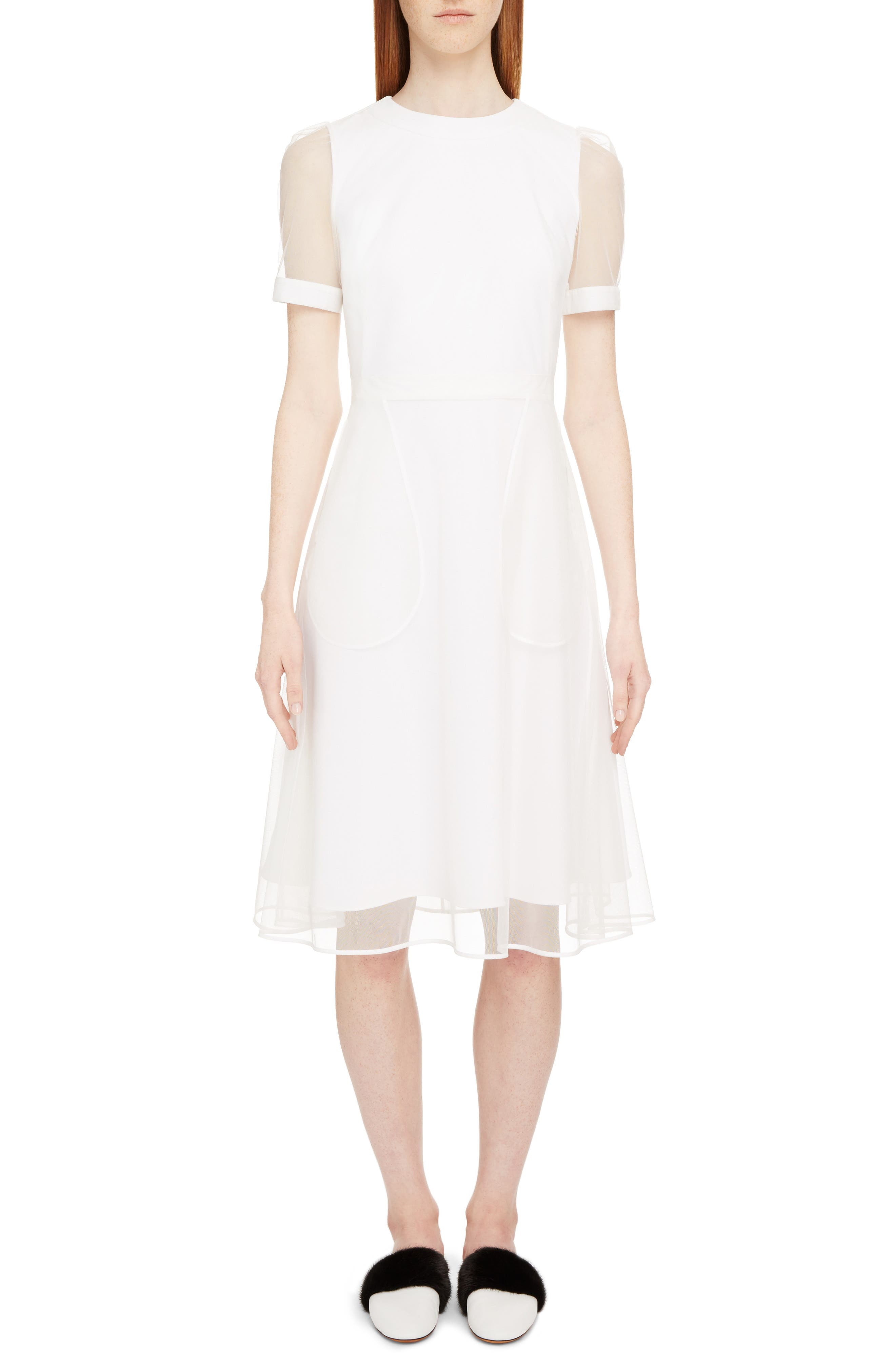 Sheer Overlay Stretch Cady Dress,                         Main,                         color, White