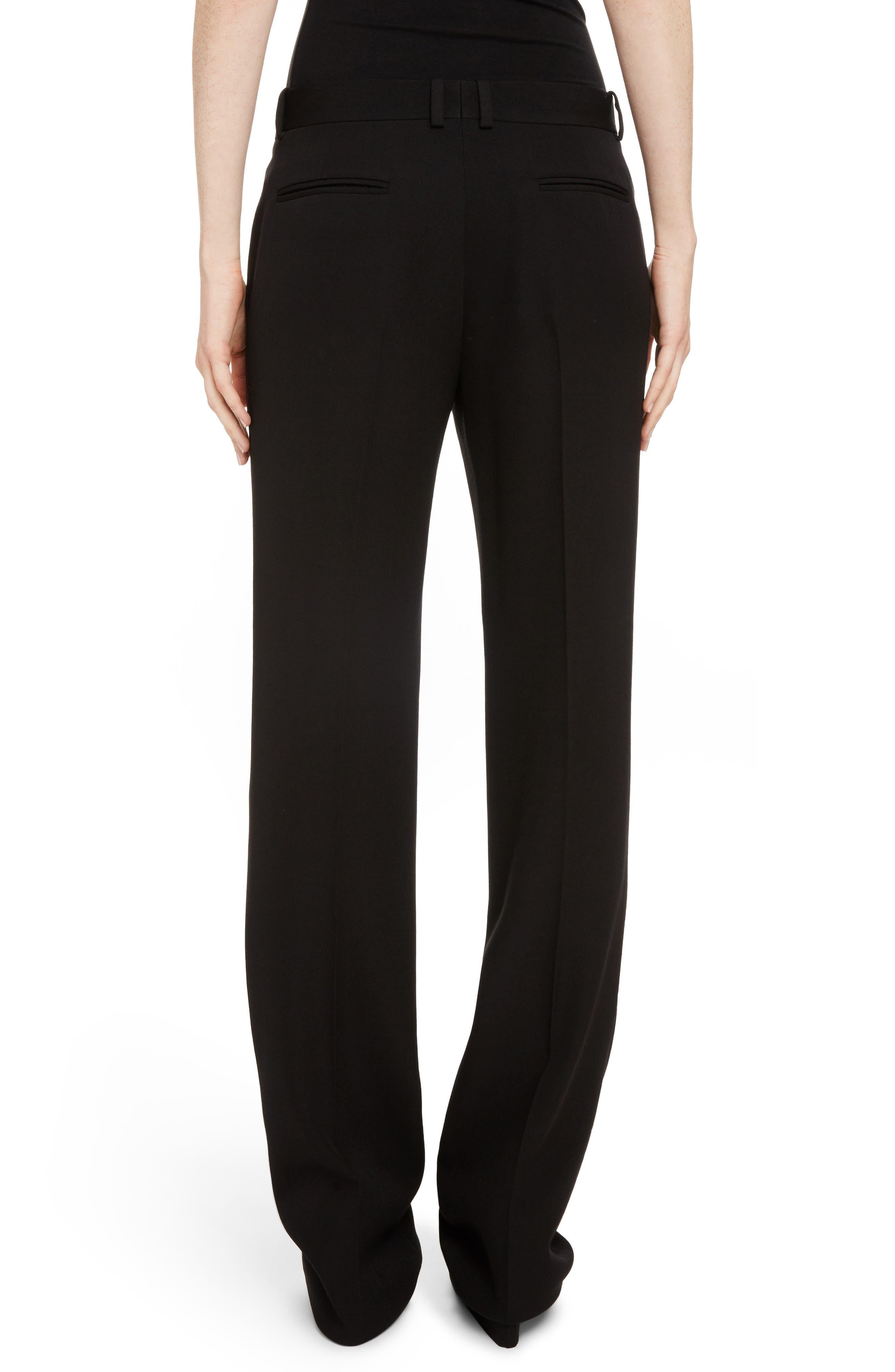 Wool Straight Leg Pants,                             Alternate thumbnail 2, color,                             Black