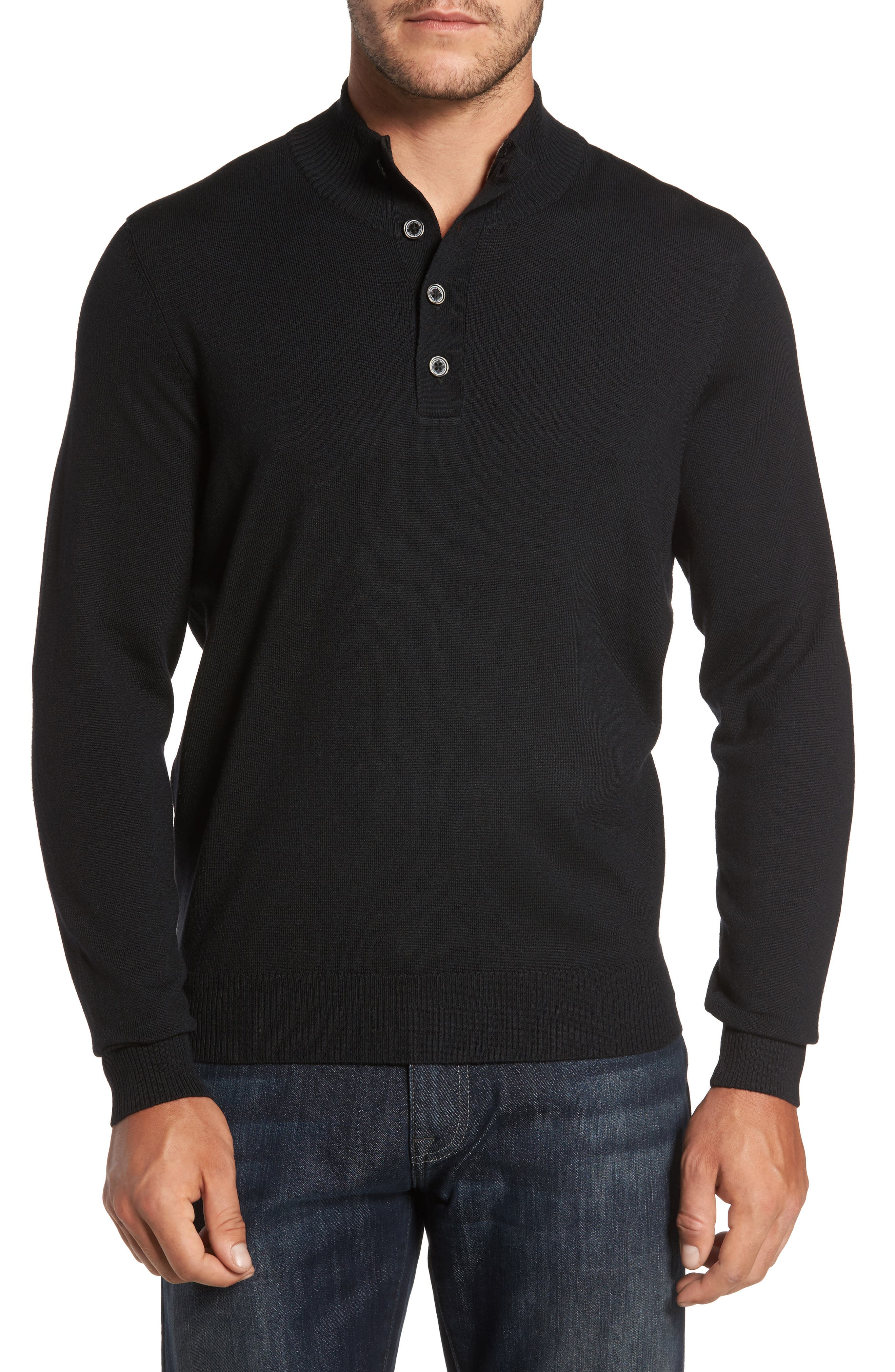 Main Image - Thomas Dean Merino Wool Blend Mock Neck Sweater