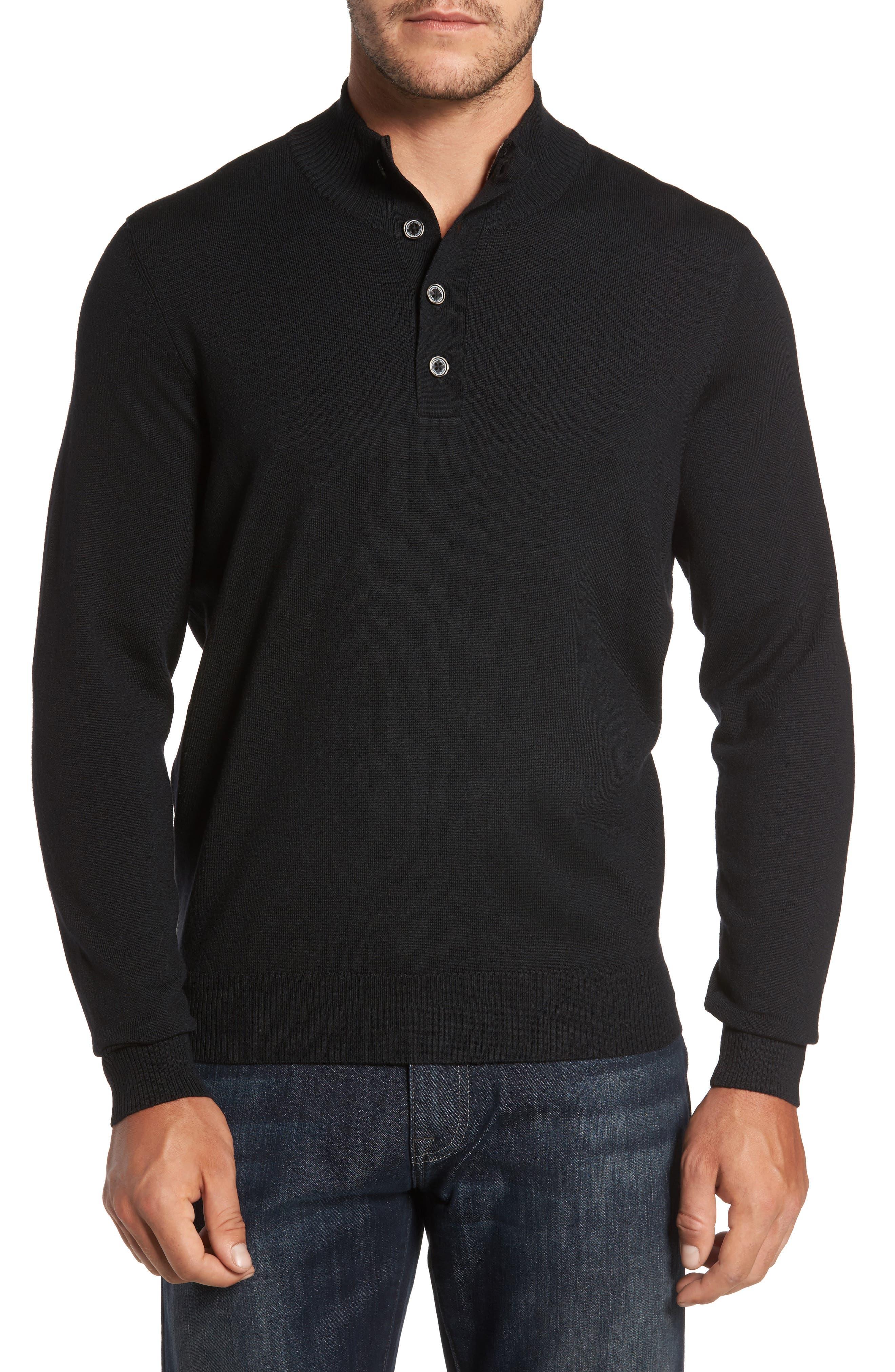 Merino Wool Blend Mock Neck Sweater,                         Main,                         color, Black