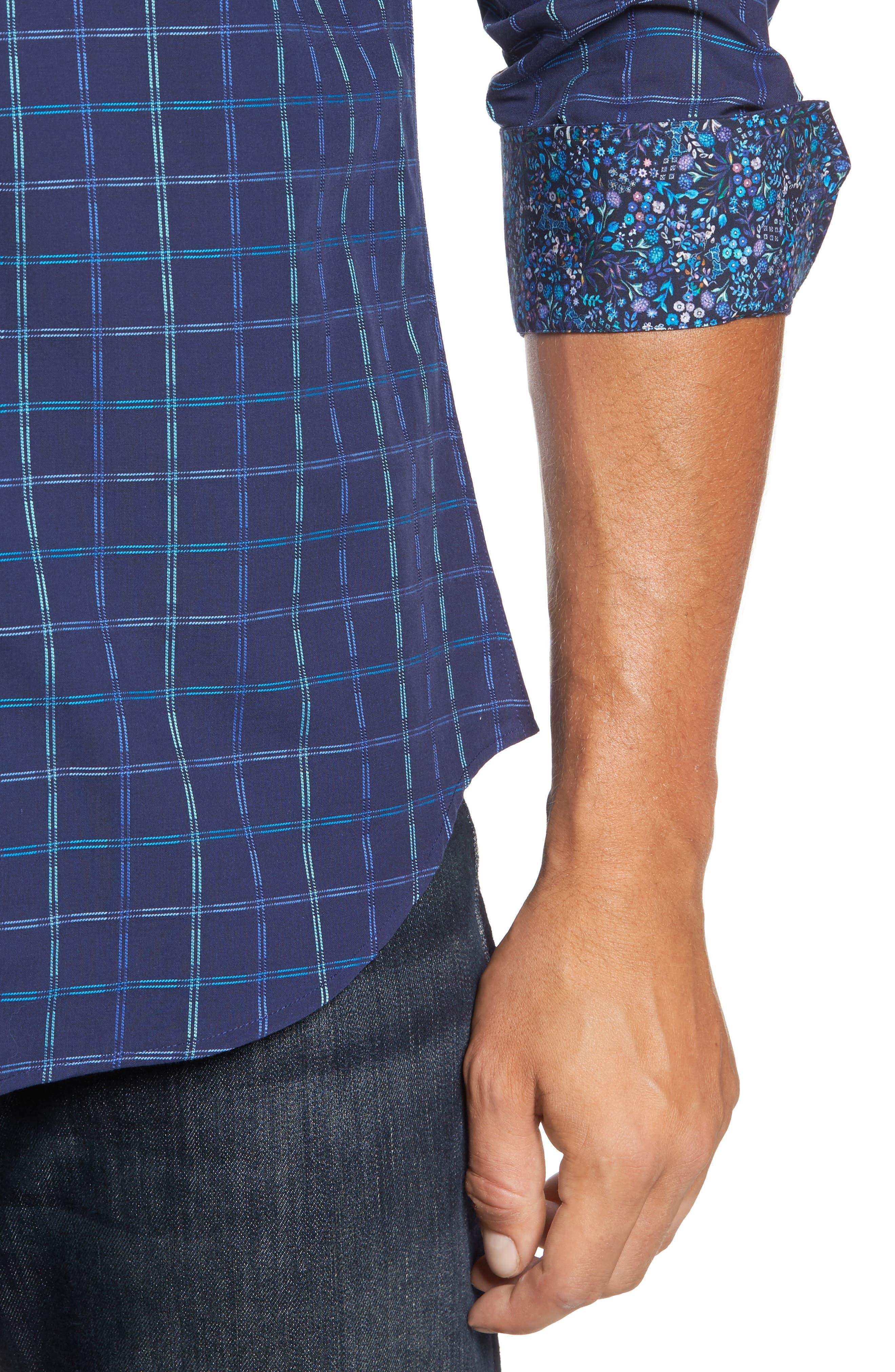 Alternate Image 4  - Bugatchi Trim Fit Tattersall Sport Shirt