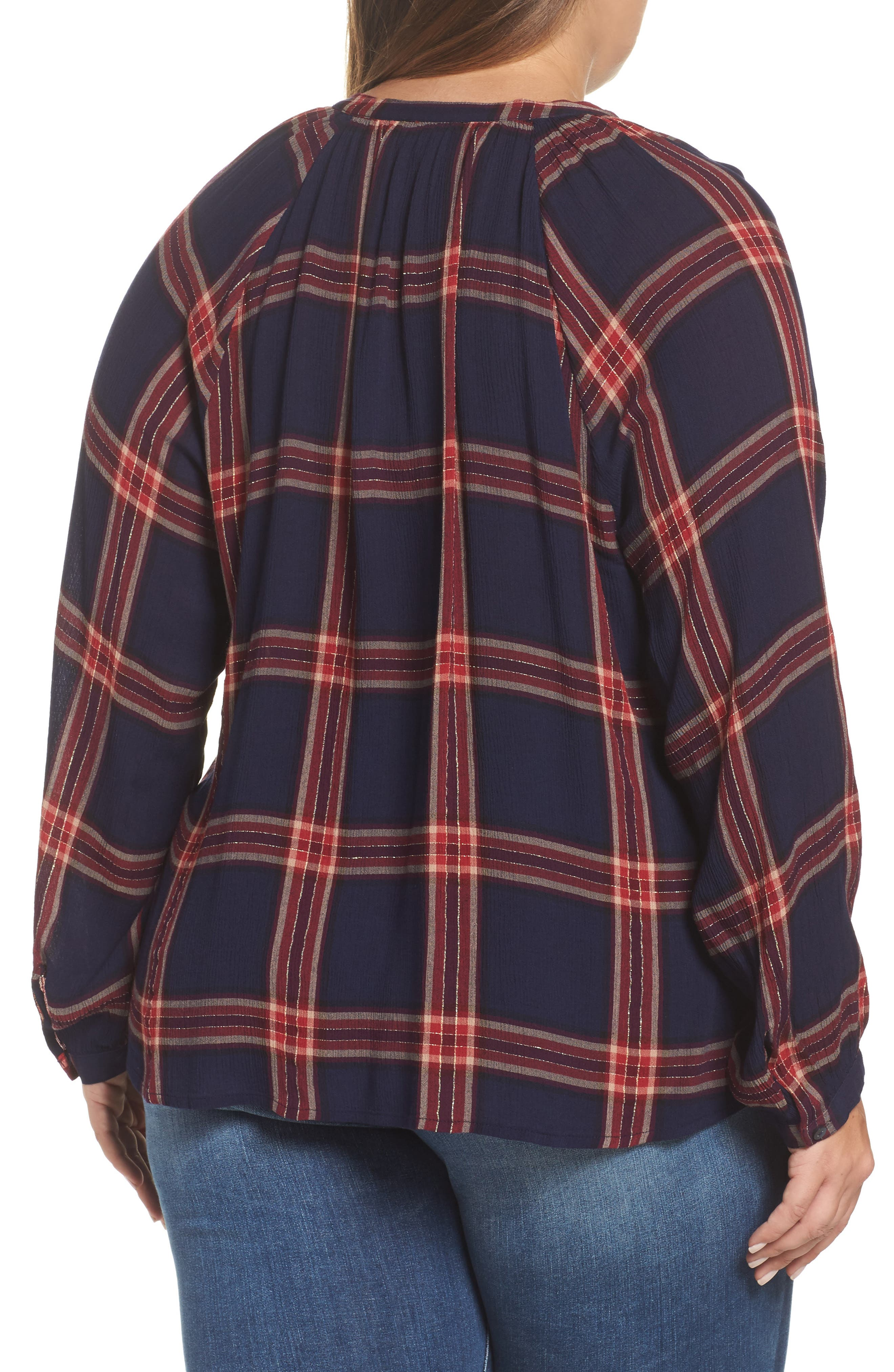 Alternate Image 2  - Lucky Brand Plaid Cotton Peasant Top (Plus Size)