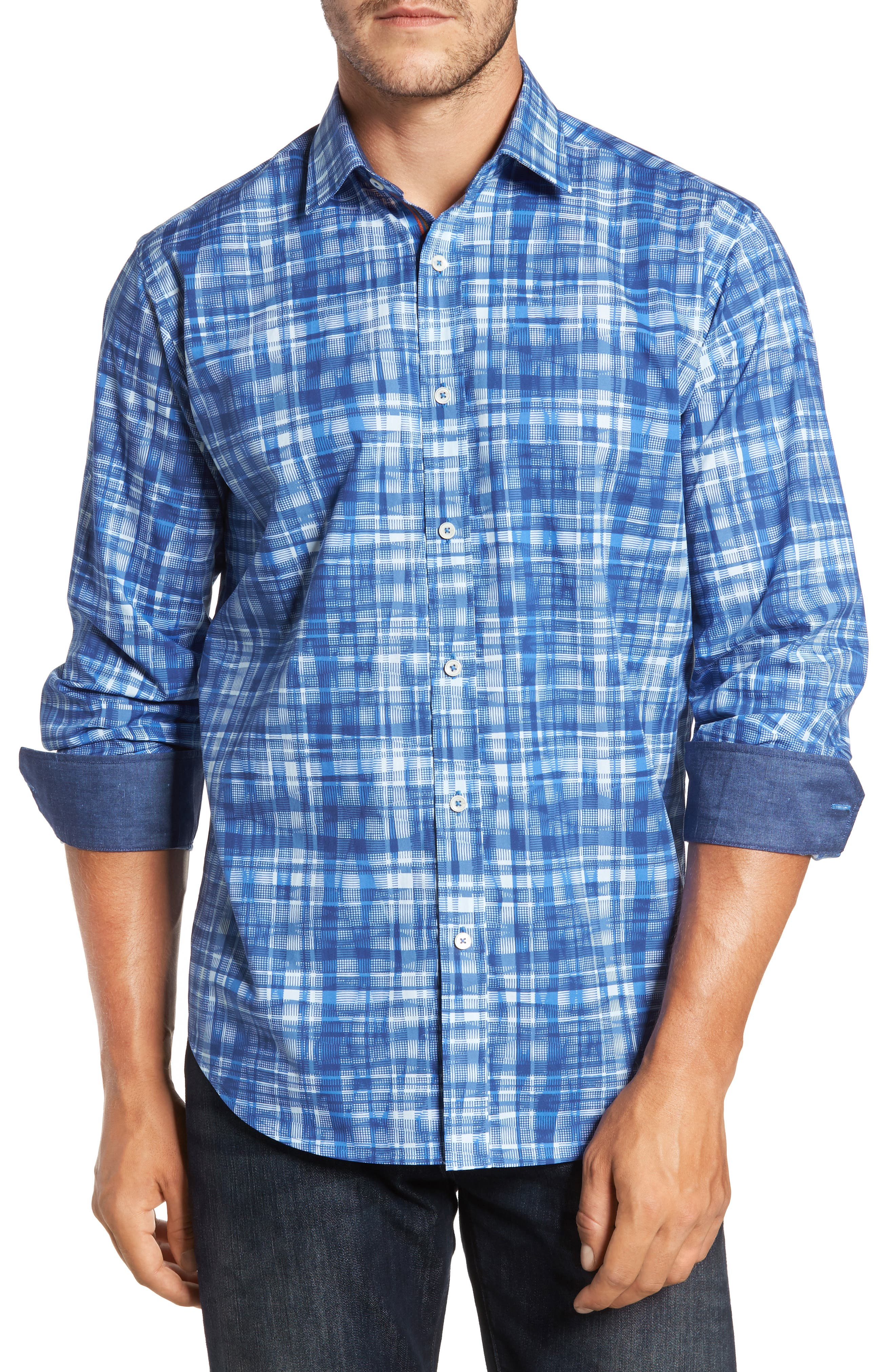 Classic Fit Abstract Plaid Sport Shirt,                         Main,                         color, Classic Blue