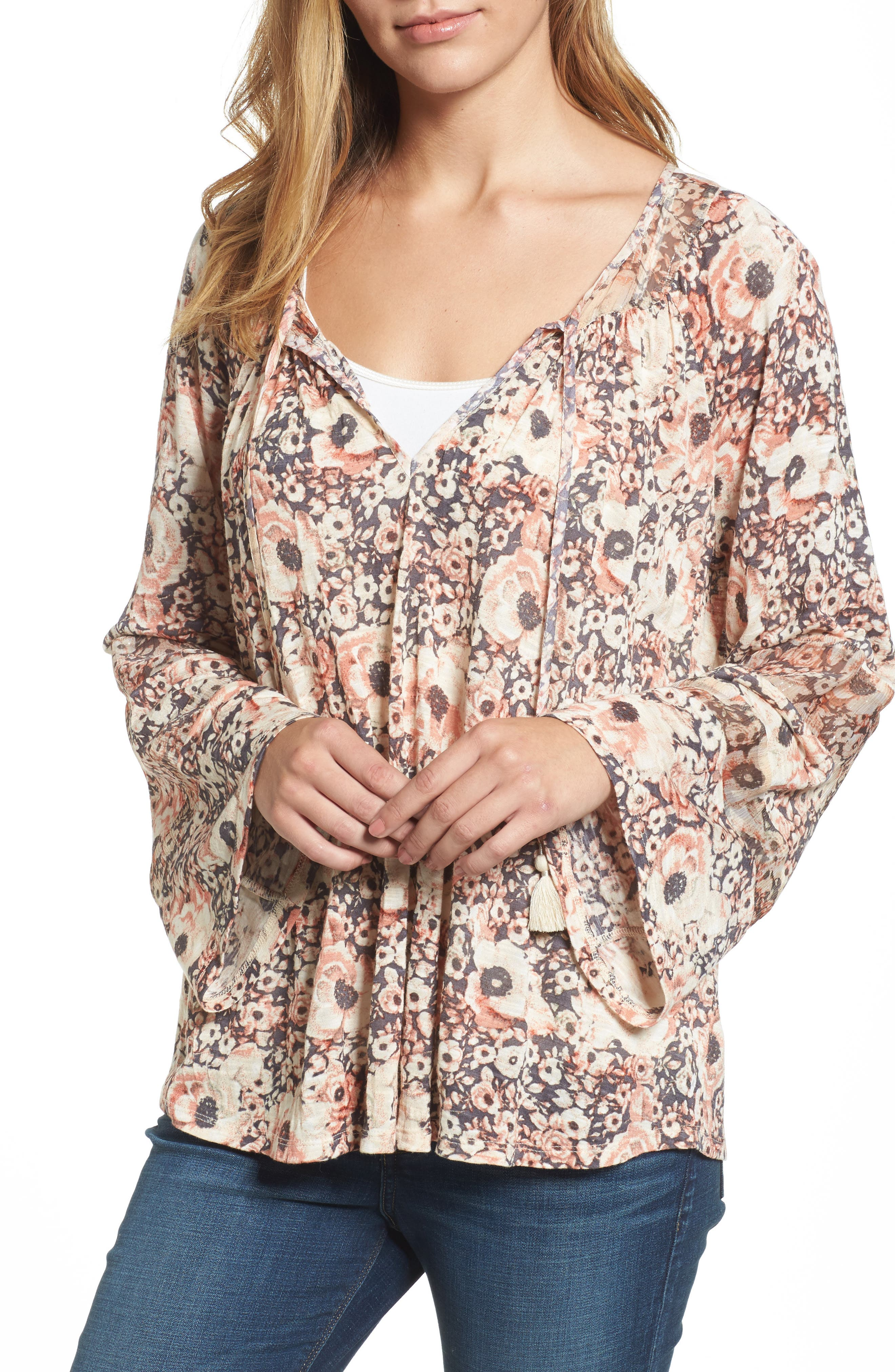Bell Sleeve Floral Mixed Media Top,                         Main,                         color, Blush Multi