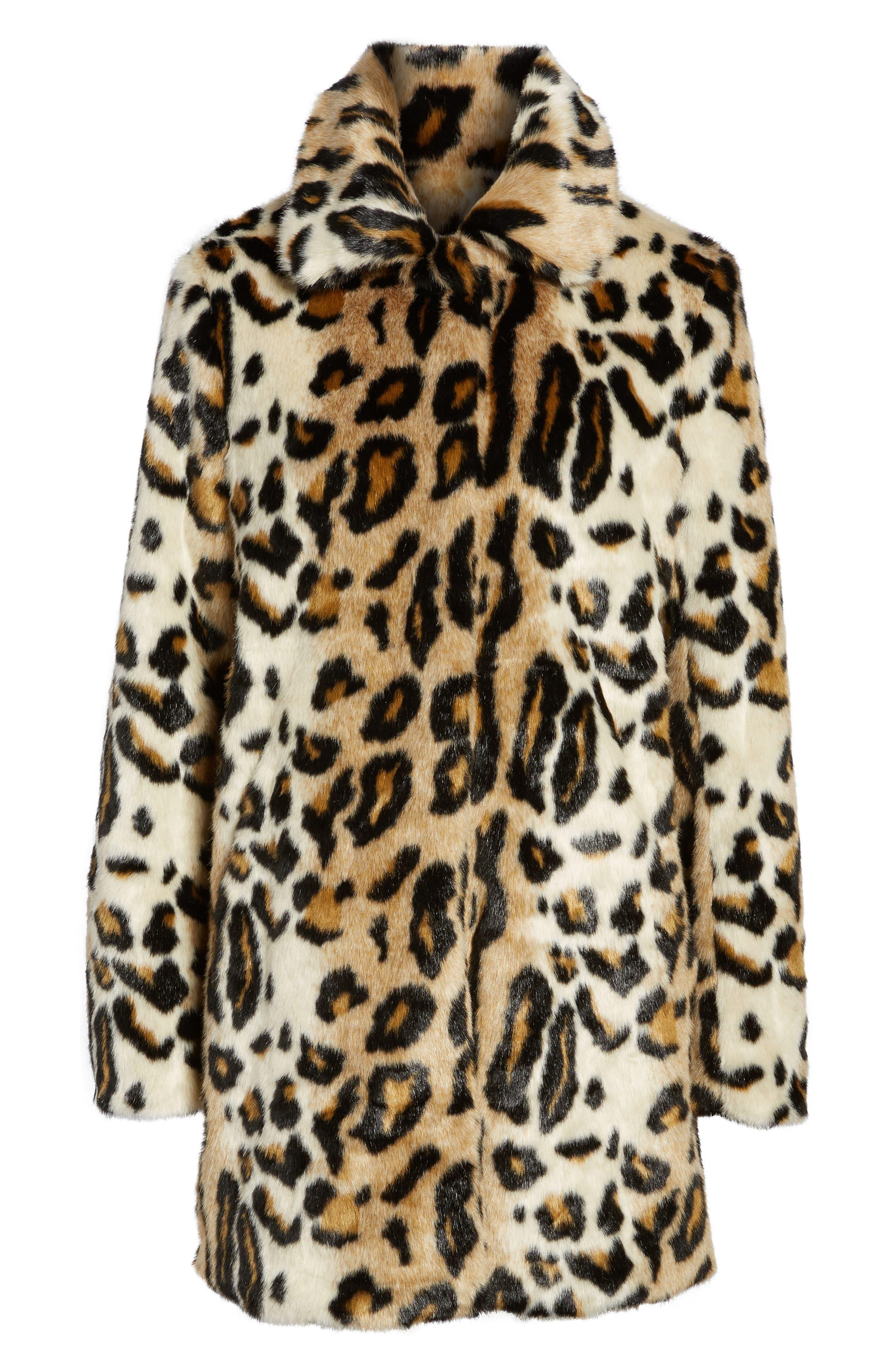 Leopard Spot Reversible Faux Fur Coat,                             Alternate thumbnail 6, color,                             Leopard