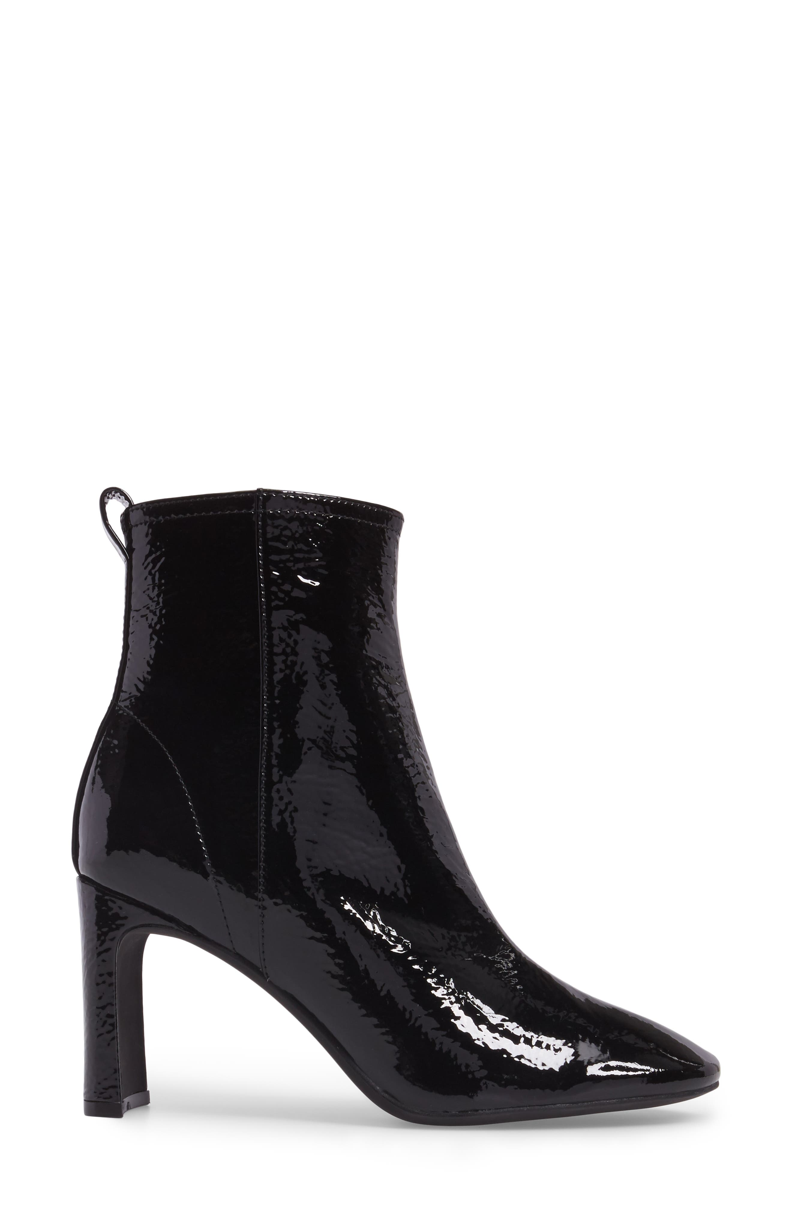 Chapel Curved Heel Bootie,                             Alternate thumbnail 3, color,                             Black Crinkle Patent