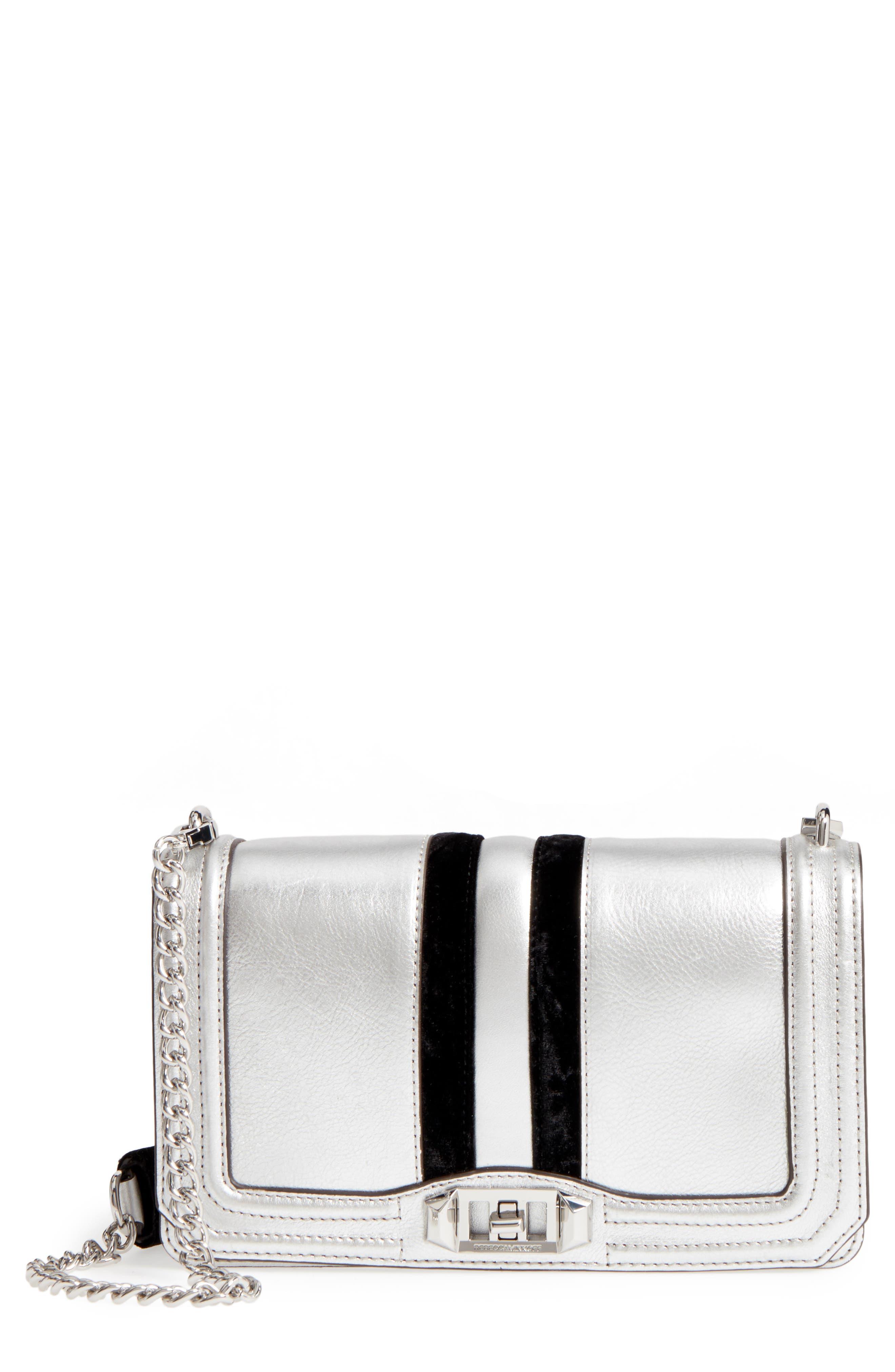 Rebecca Minkoff Love Velvet Stripe Metallic Leather Crossbody Bag