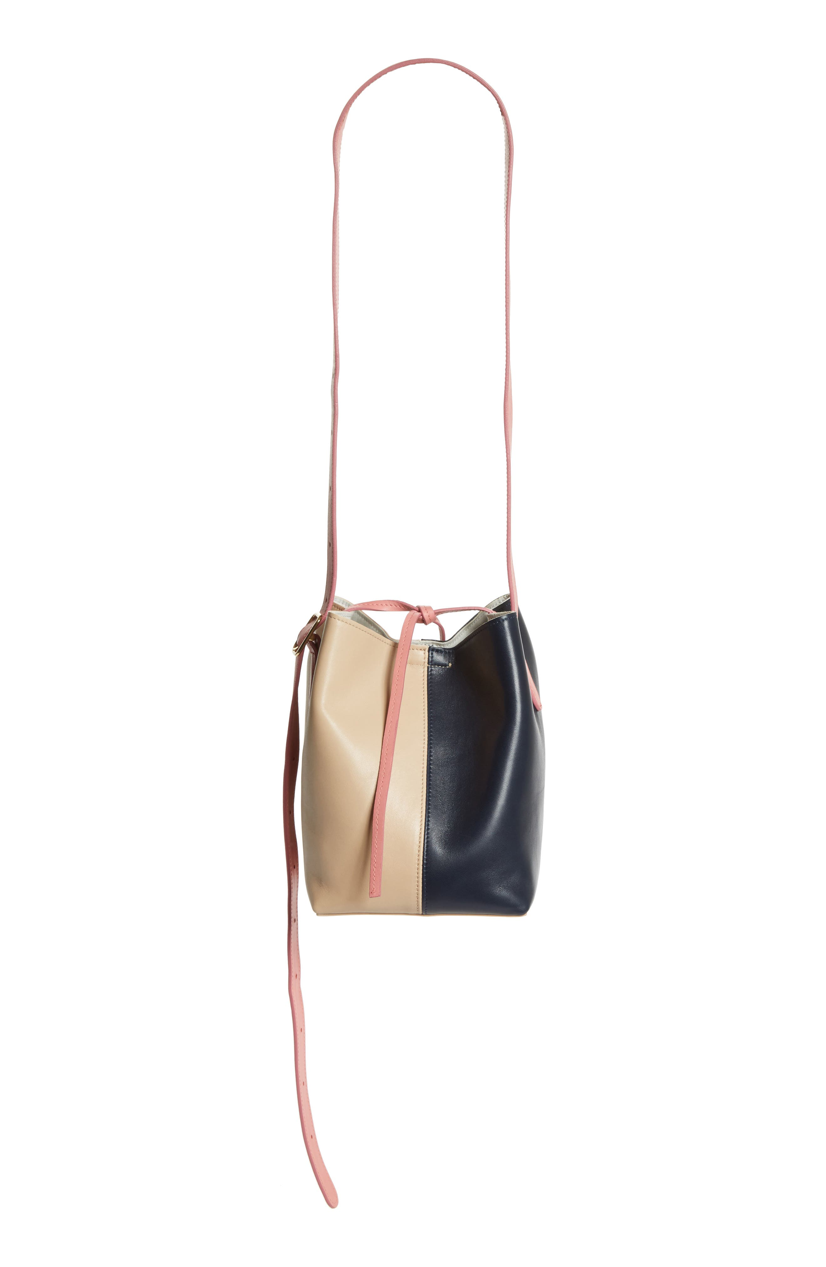 Small Apple Tricolor Leather Bag,                             Alternate thumbnail 3, color,                             Slate/ Amaryllis/ Cappuccino