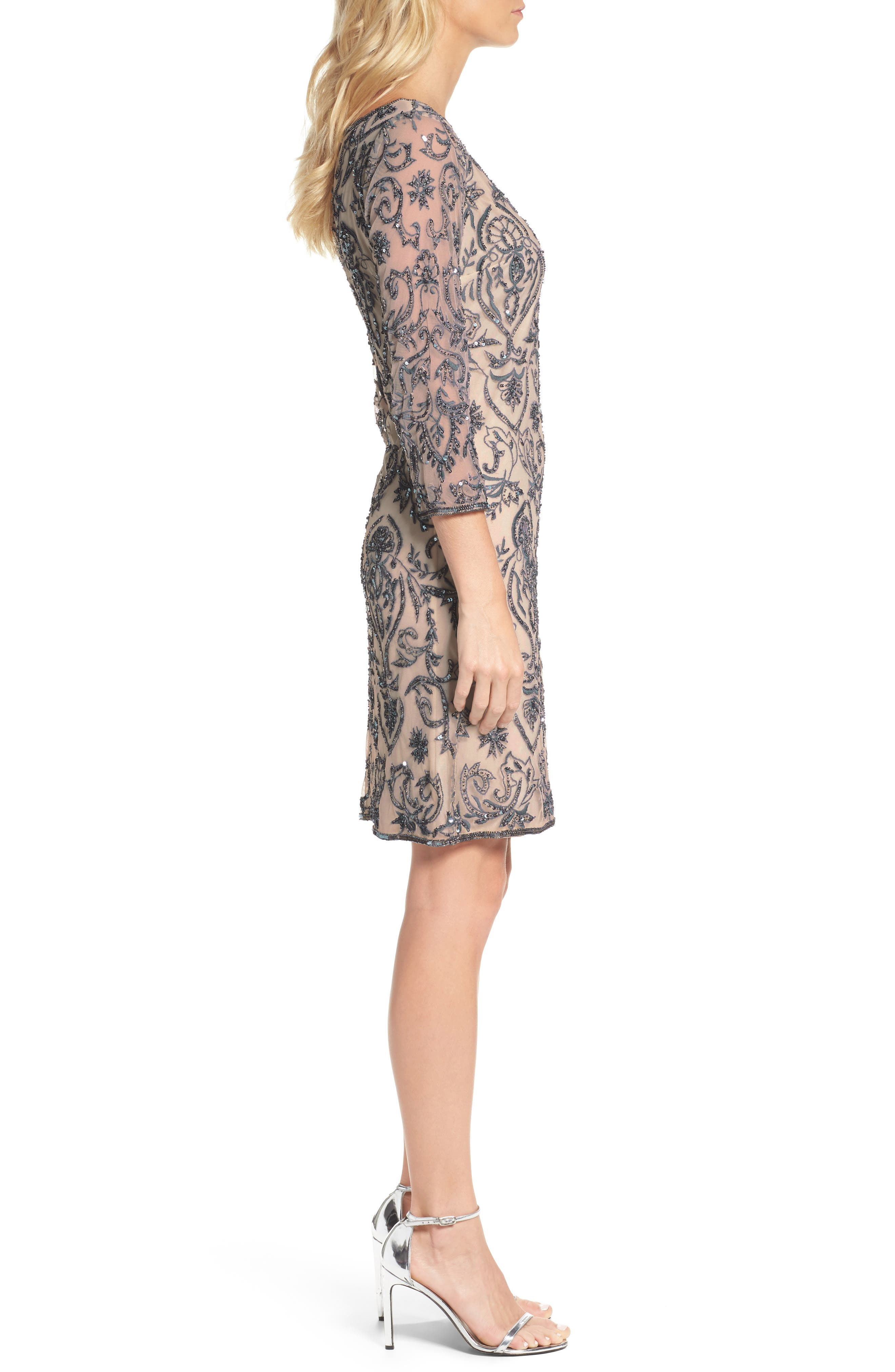Sequin Embroidered Sheath Dress,                             Alternate thumbnail 3, color,                             Rose
