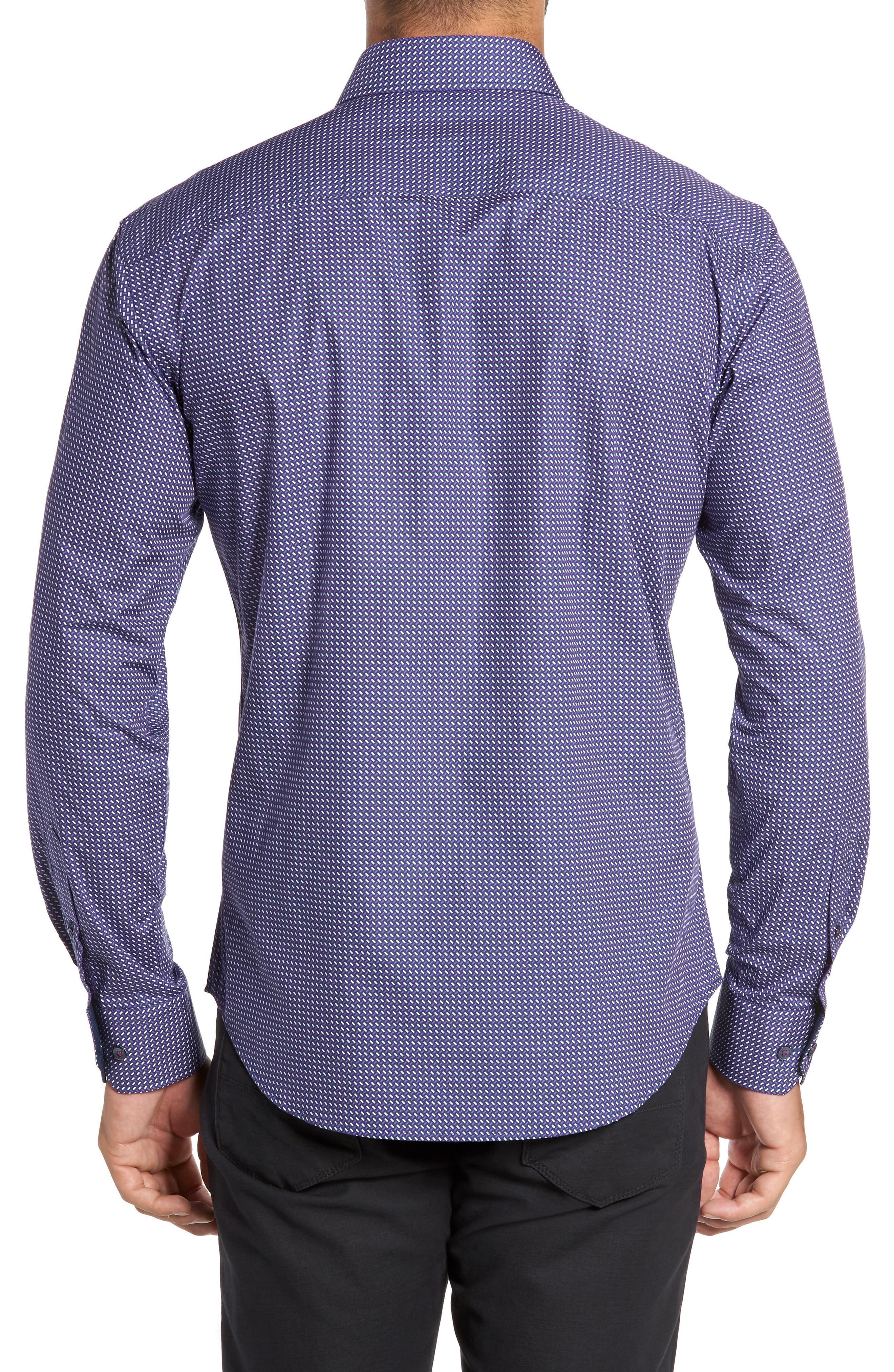 Alternate Image 2  - Bugatchi Trim Fit Weave Print Sport Shirt