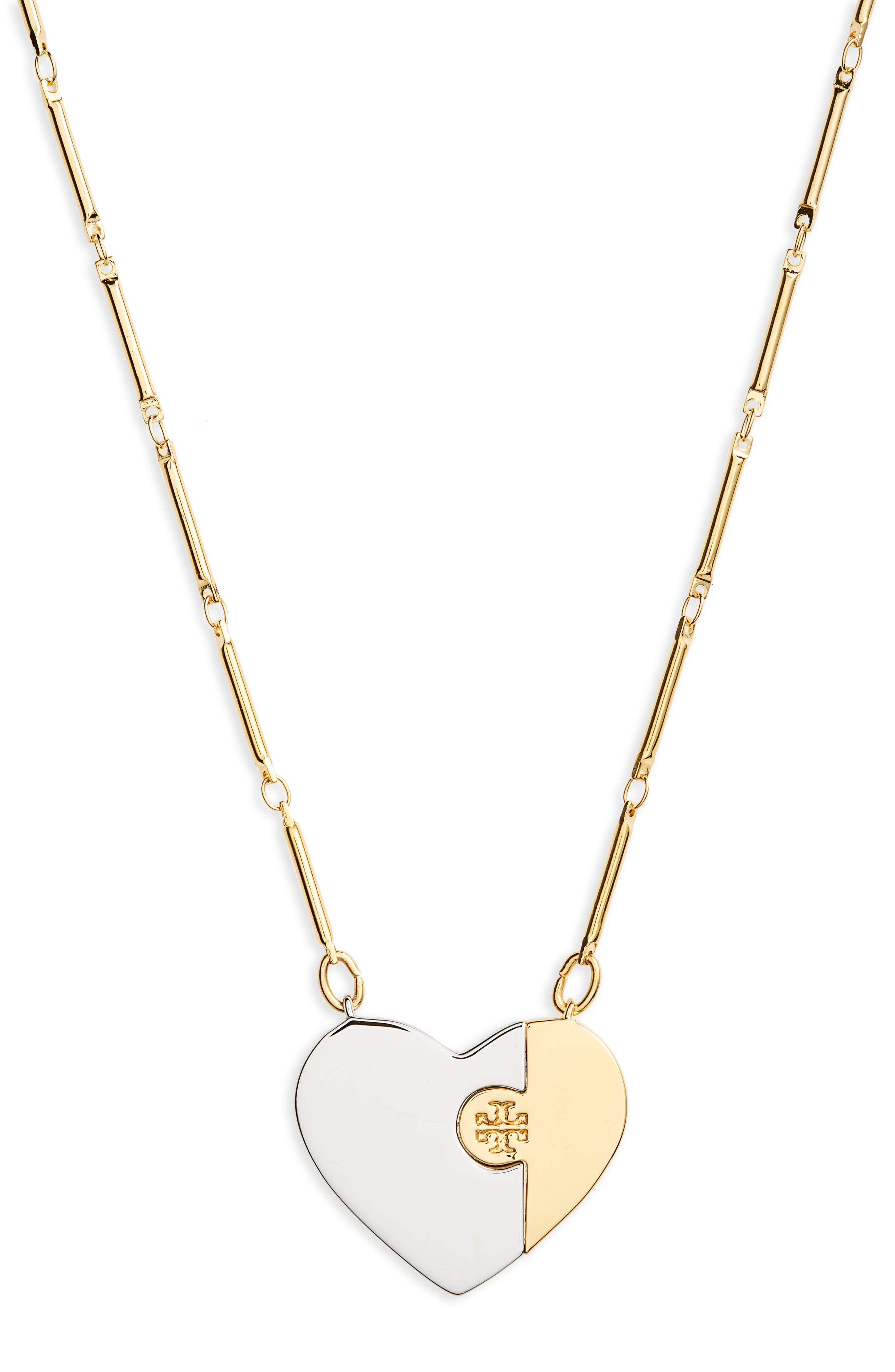 Puzzle Heart Pendant Necklace,                             Main thumbnail 1, color,                             Tory Gold / Tory Silver