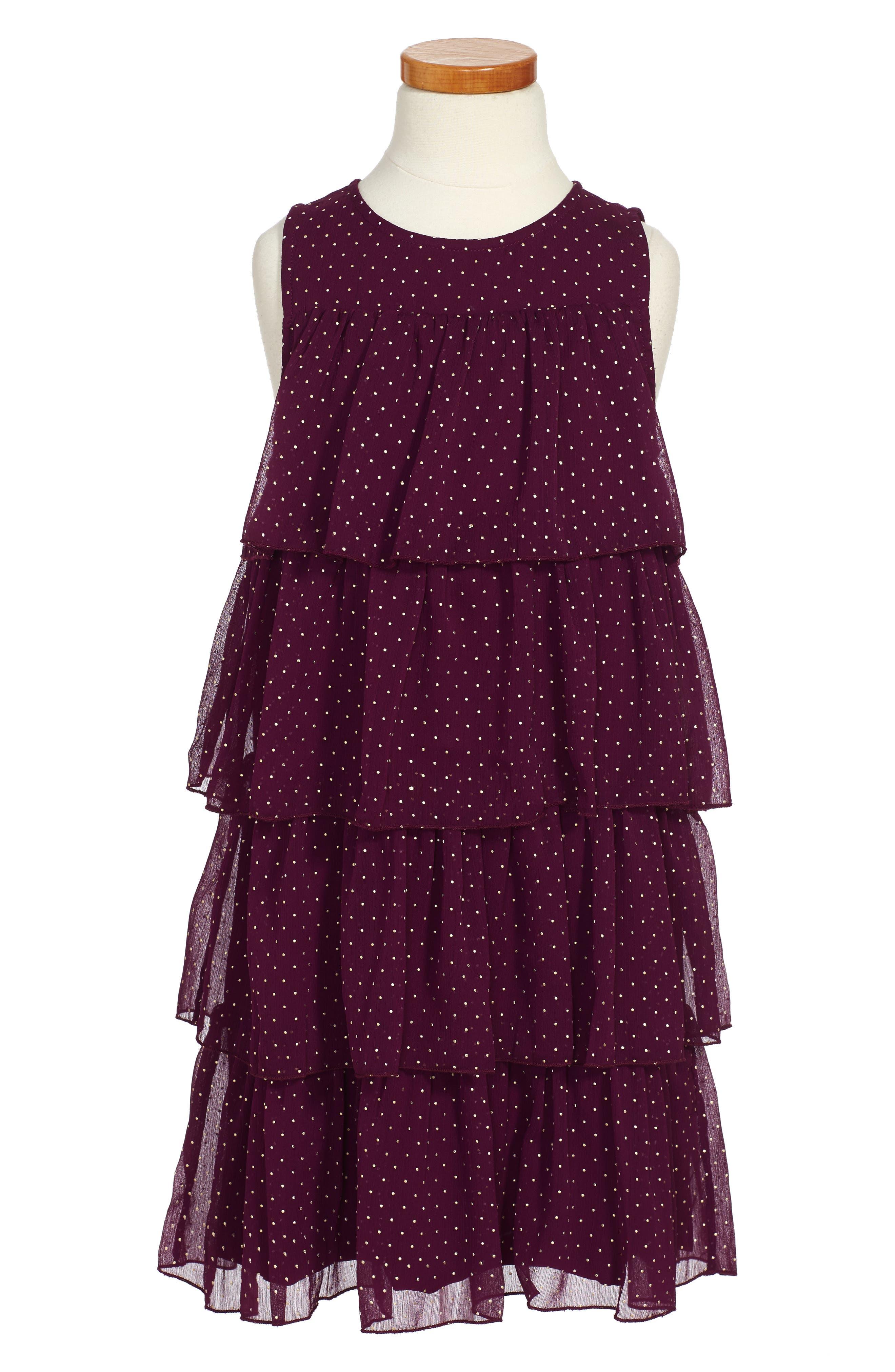 Alternate Image 1 Selected - Ruby & Bloom Tiered Dot Dress (Toddler Girls, Little Girls & Big Girls)