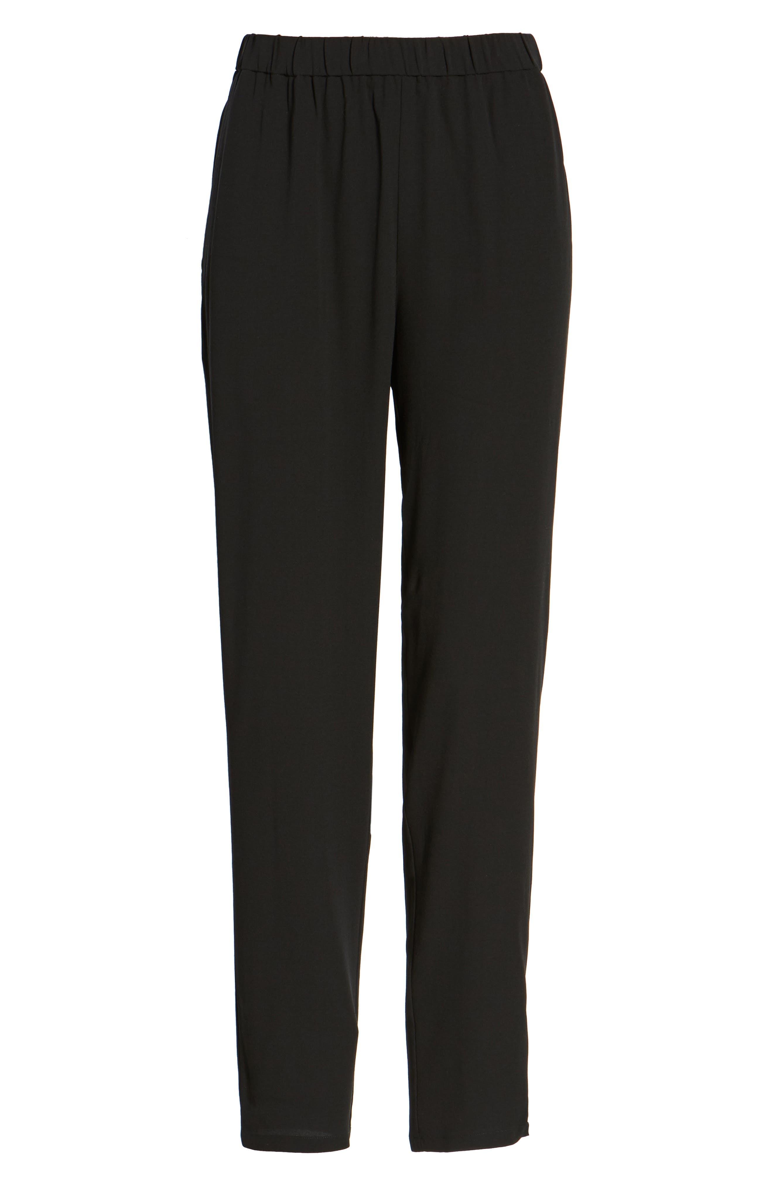Slouchy Silk Crepe Ankle Pants,                             Alternate thumbnail 7, color,                             Black