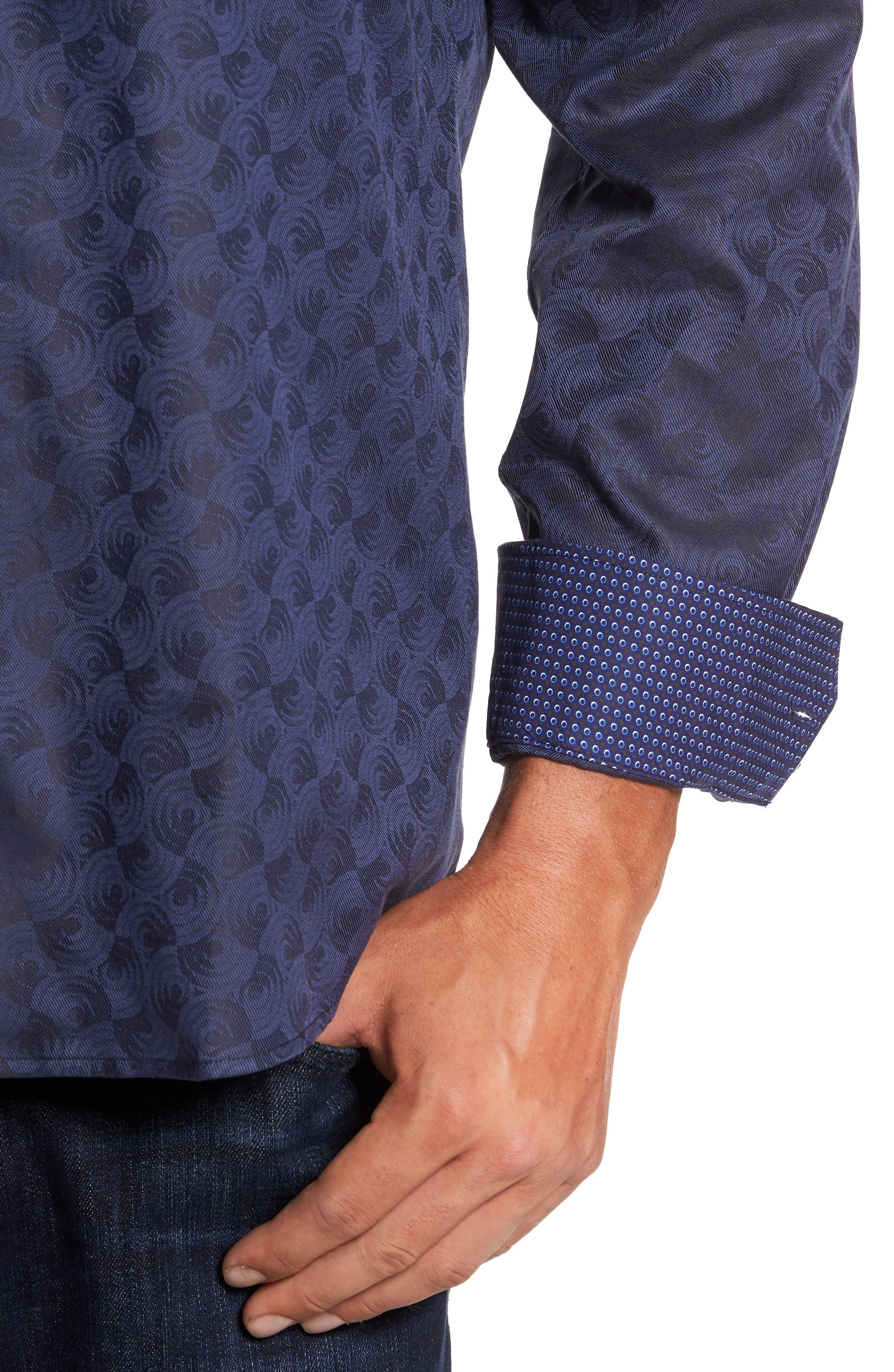 Alternate Image 4  - Bugatchi Classic Fit Swirl Print Sport Shirt