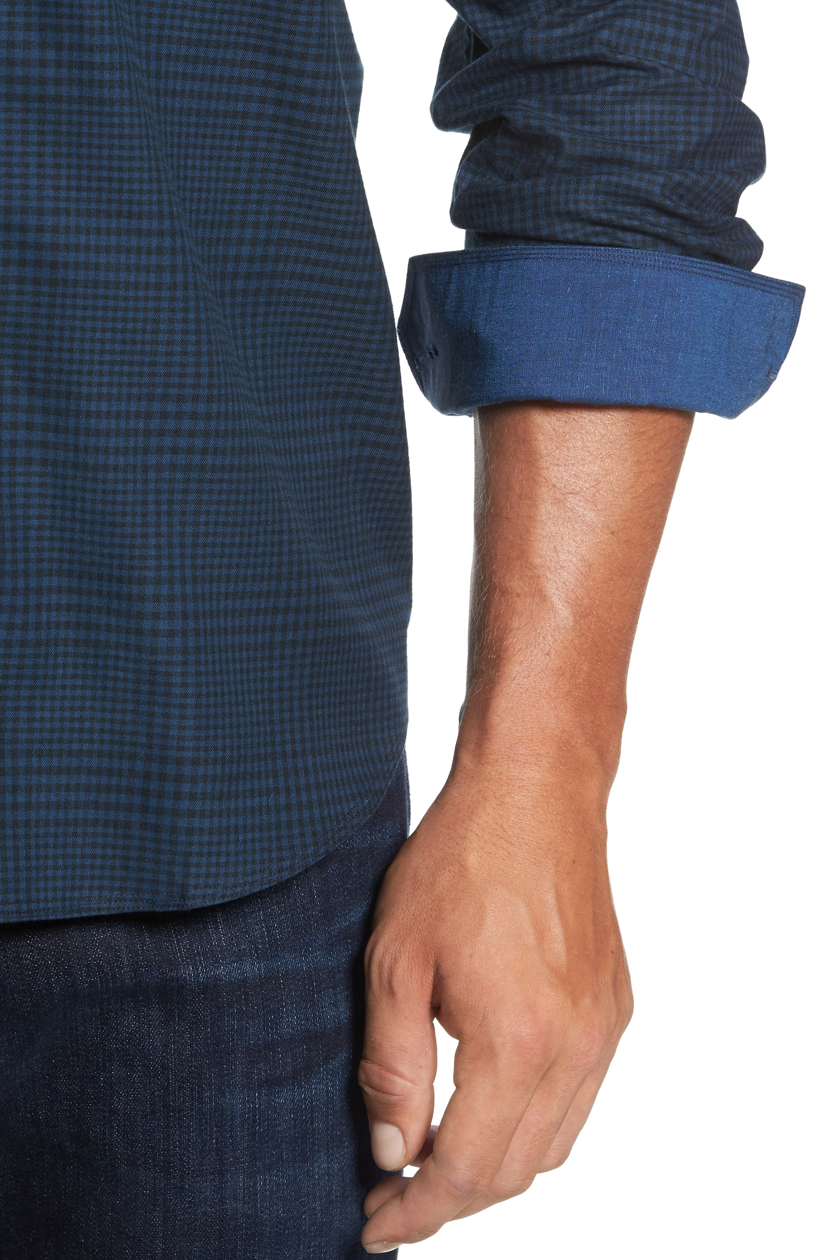 Alternate Image 4  - Bugatchi Classic Fit Glen Plaid Sport Shirt