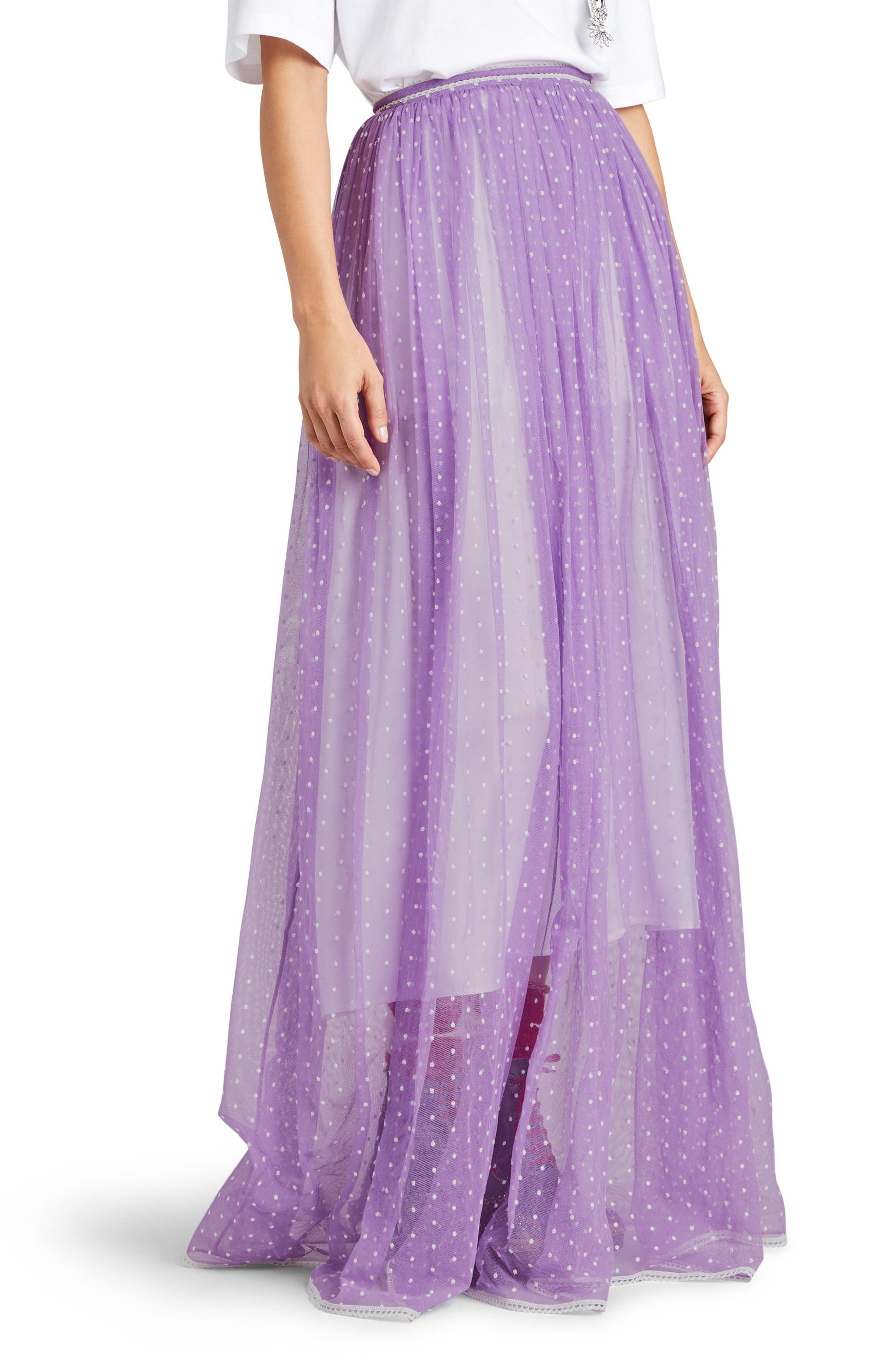 Flocked Tulle Maxi Skirt,                         Main,                         color, Lilac/ White