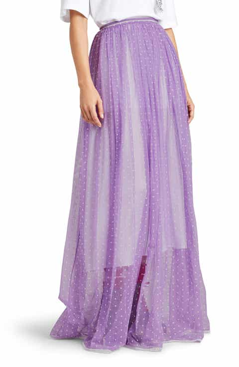 Burberry Flocked Tulle Maxi Skirt