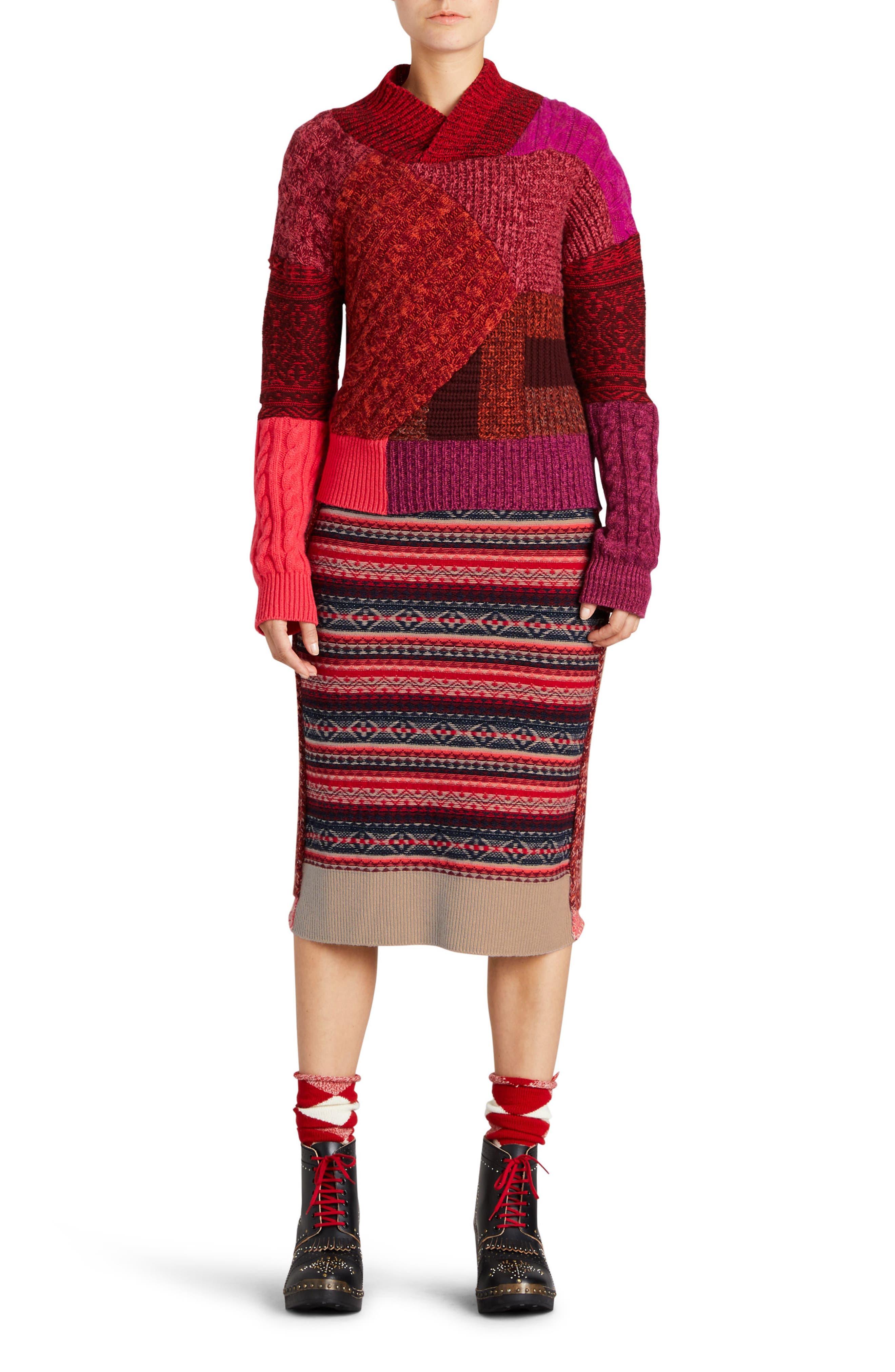 Knit Wool Blend Pencil Skirt,                             Alternate thumbnail 5, color,                             Multicolor