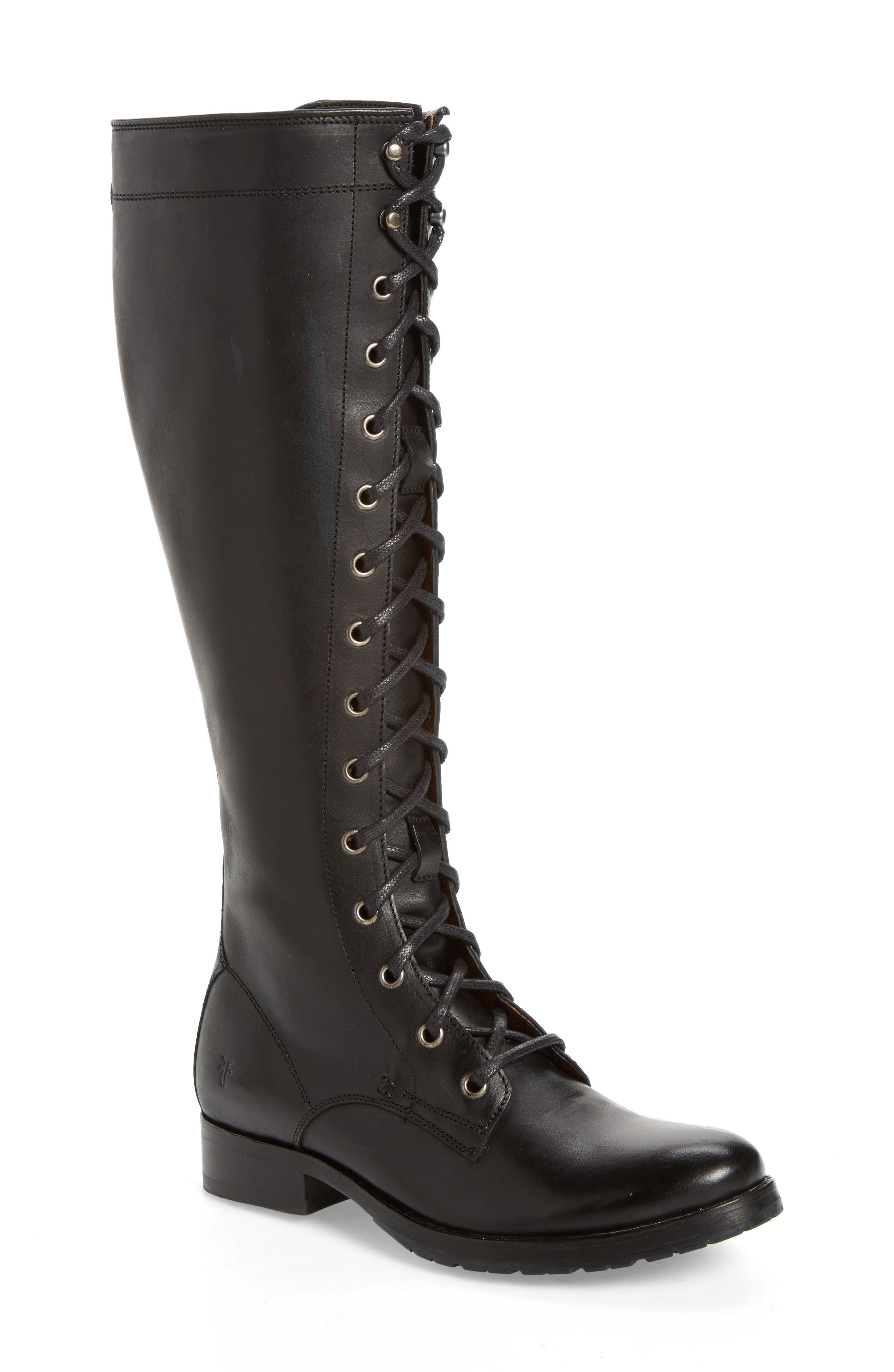 Melissa Tall Lace-Up Boot,                         Main,                         color, Black Fabric