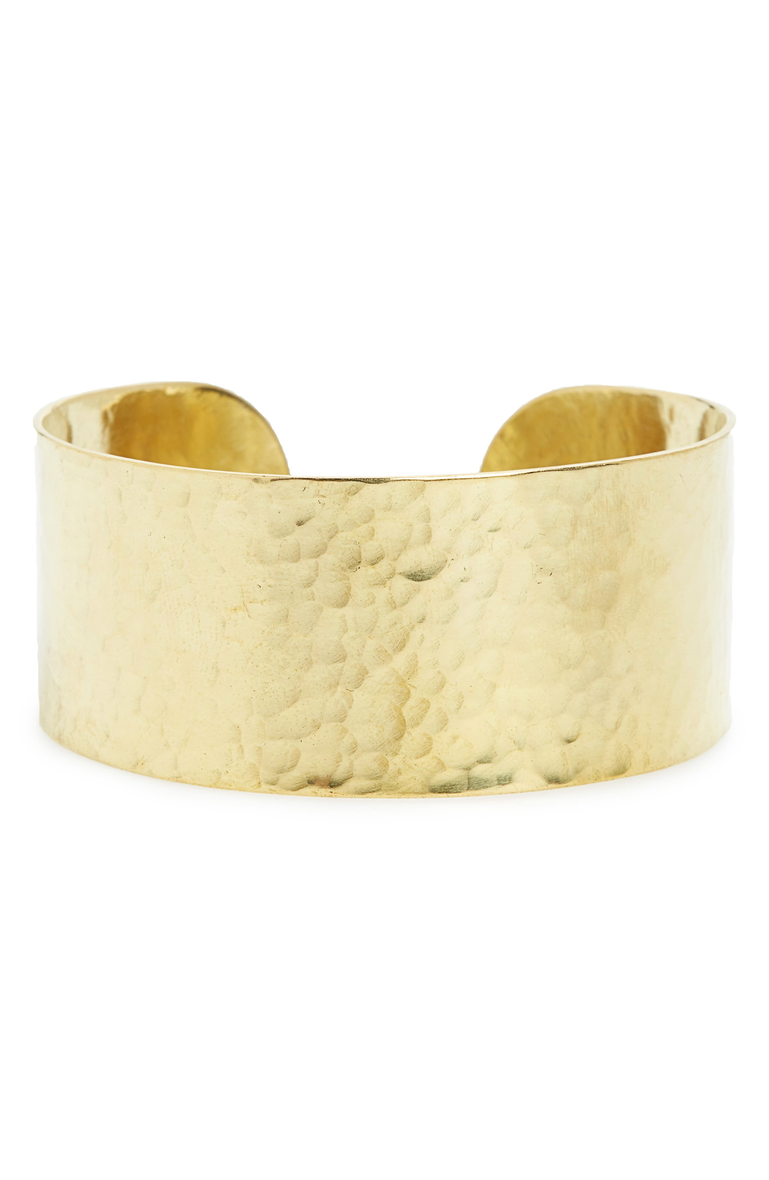 Hammered Brass Cuff,                         Main,                         color, Brass