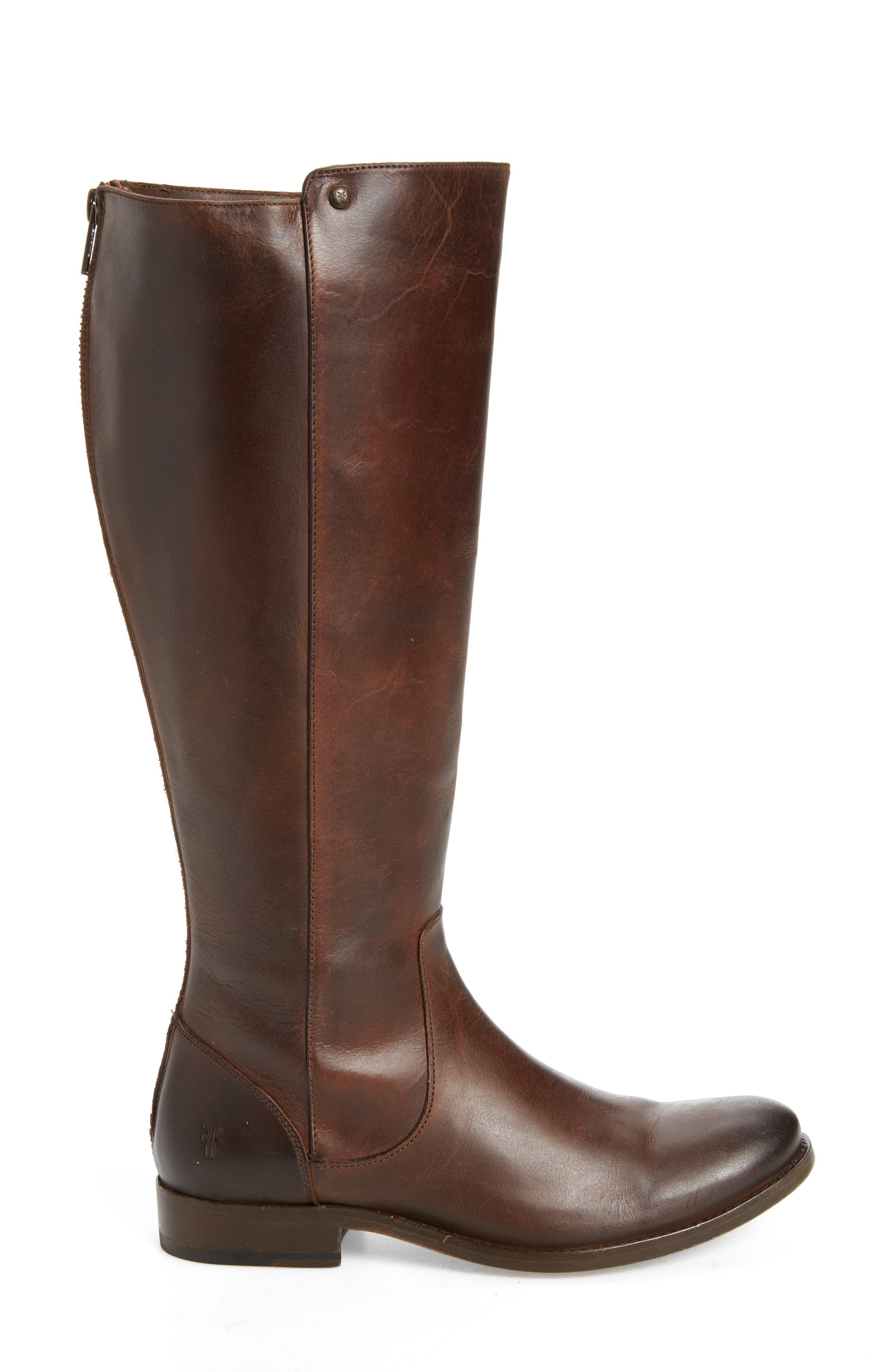 Melissa Stud Knee High Boot,                             Alternate thumbnail 3, color,                             Chocolate Leather