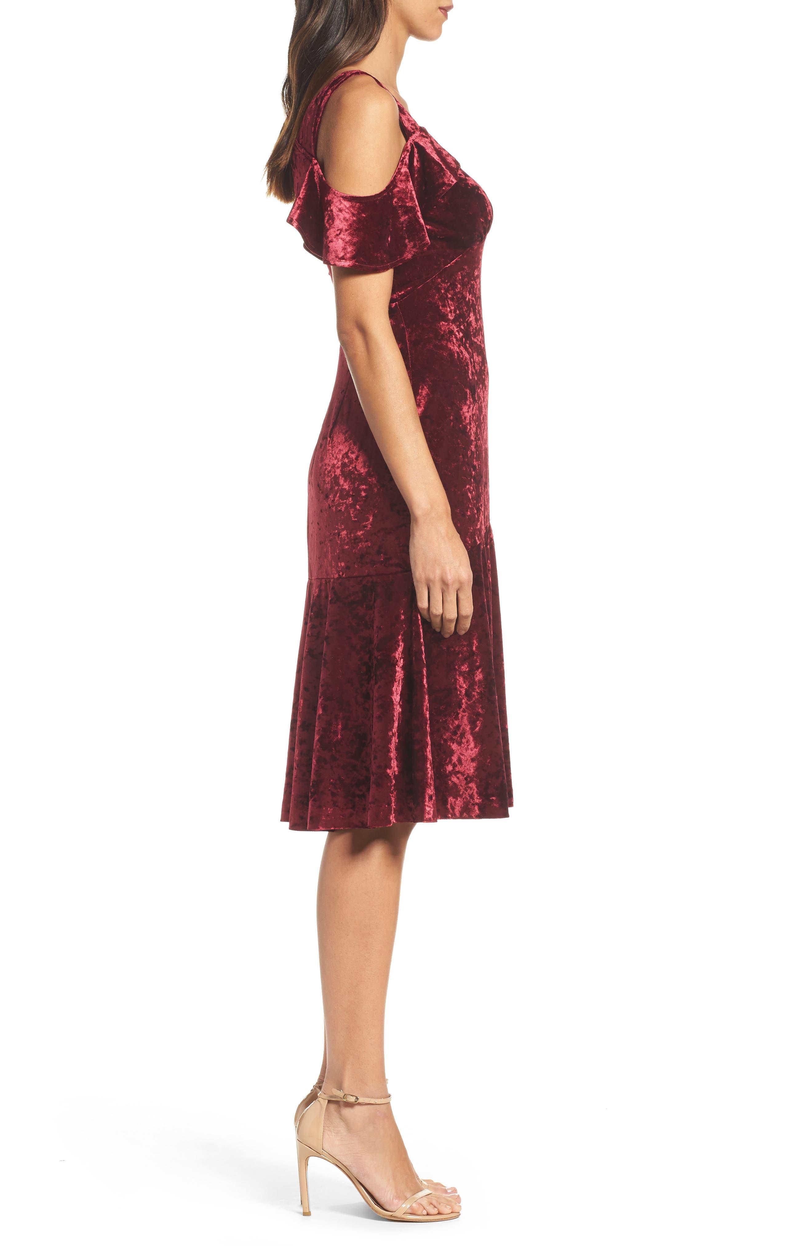 Cold Shoulder Velvet Dress,                             Alternate thumbnail 3, color,                             Burgundy