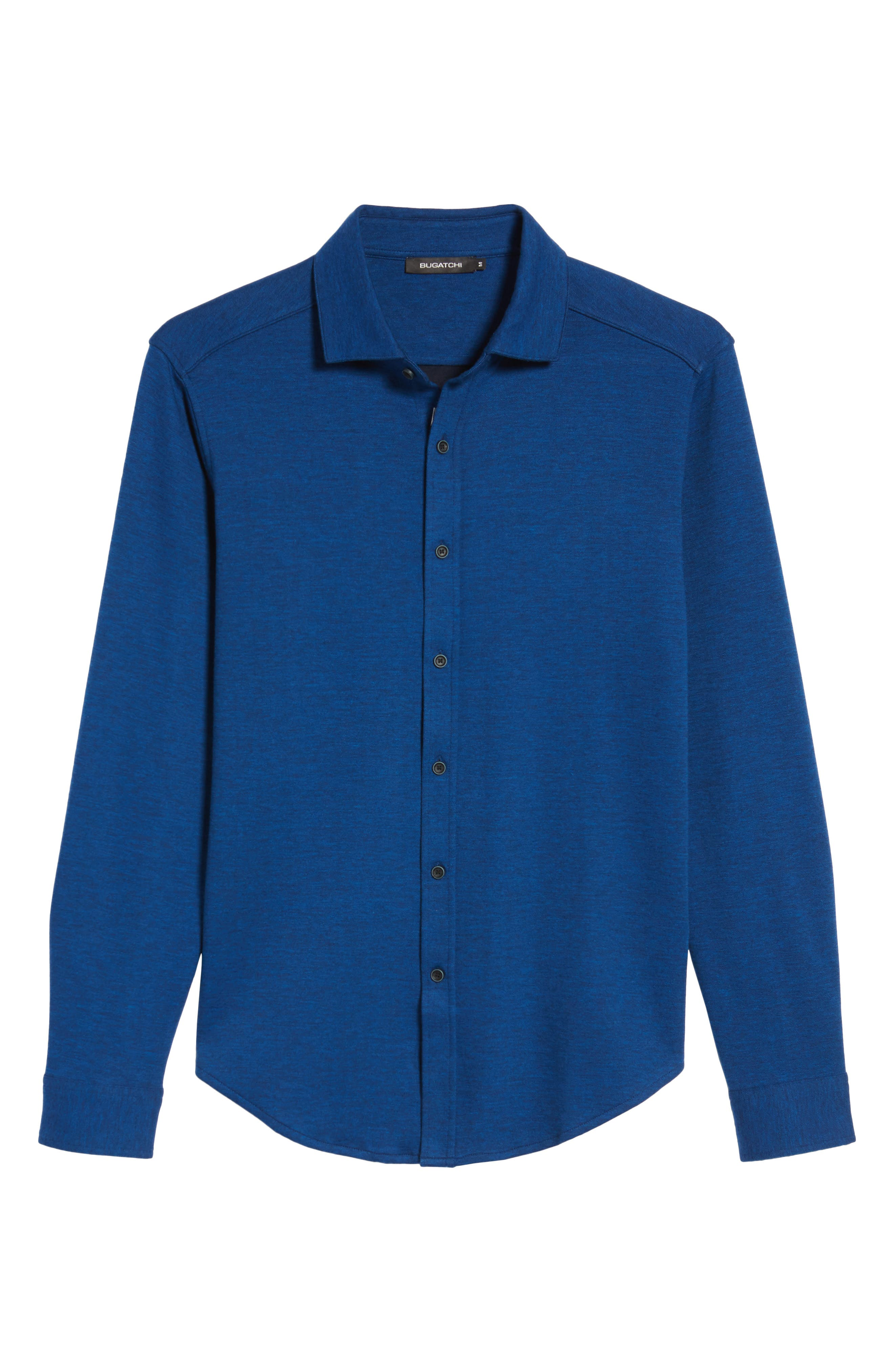 Classic Fit Heathered Knit Sport Shirt,                             Alternate thumbnail 6, color,                             Night Blue
